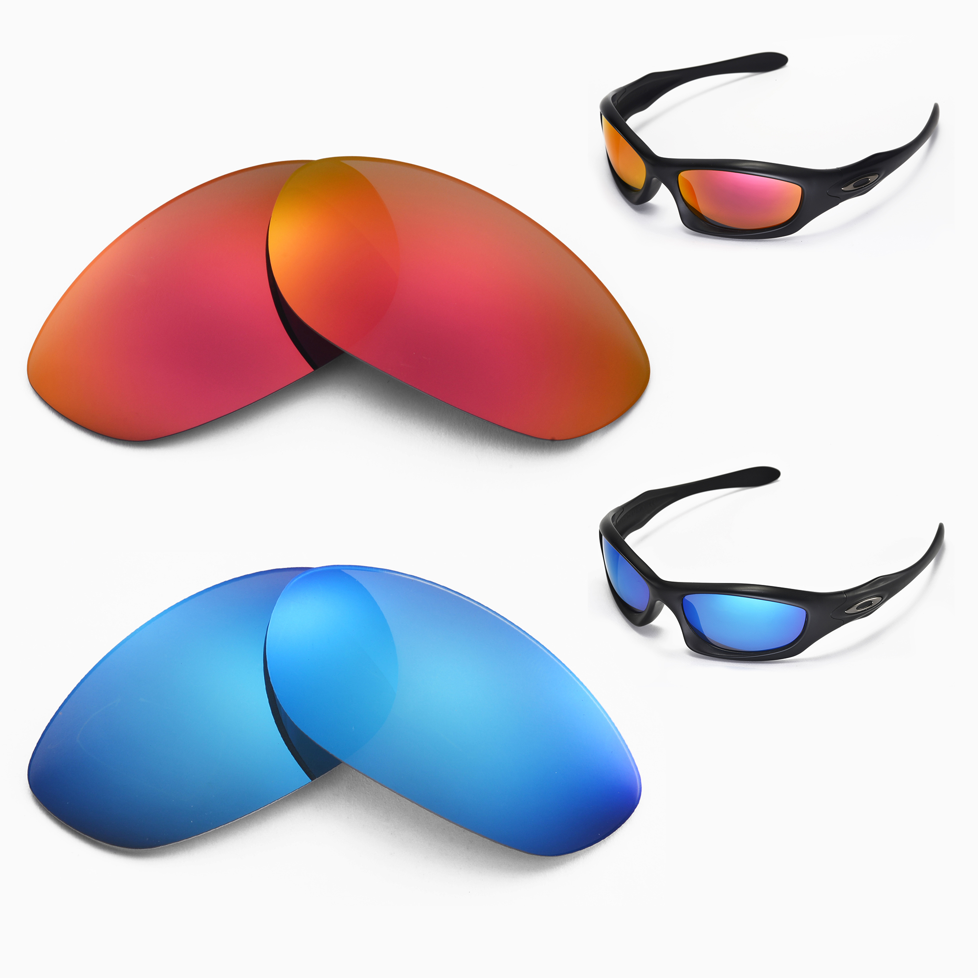 3c5b7712a8 Details about New Walleva Polarized Fire Red + Ice Blue Lenses For Oakley  Monster Dog