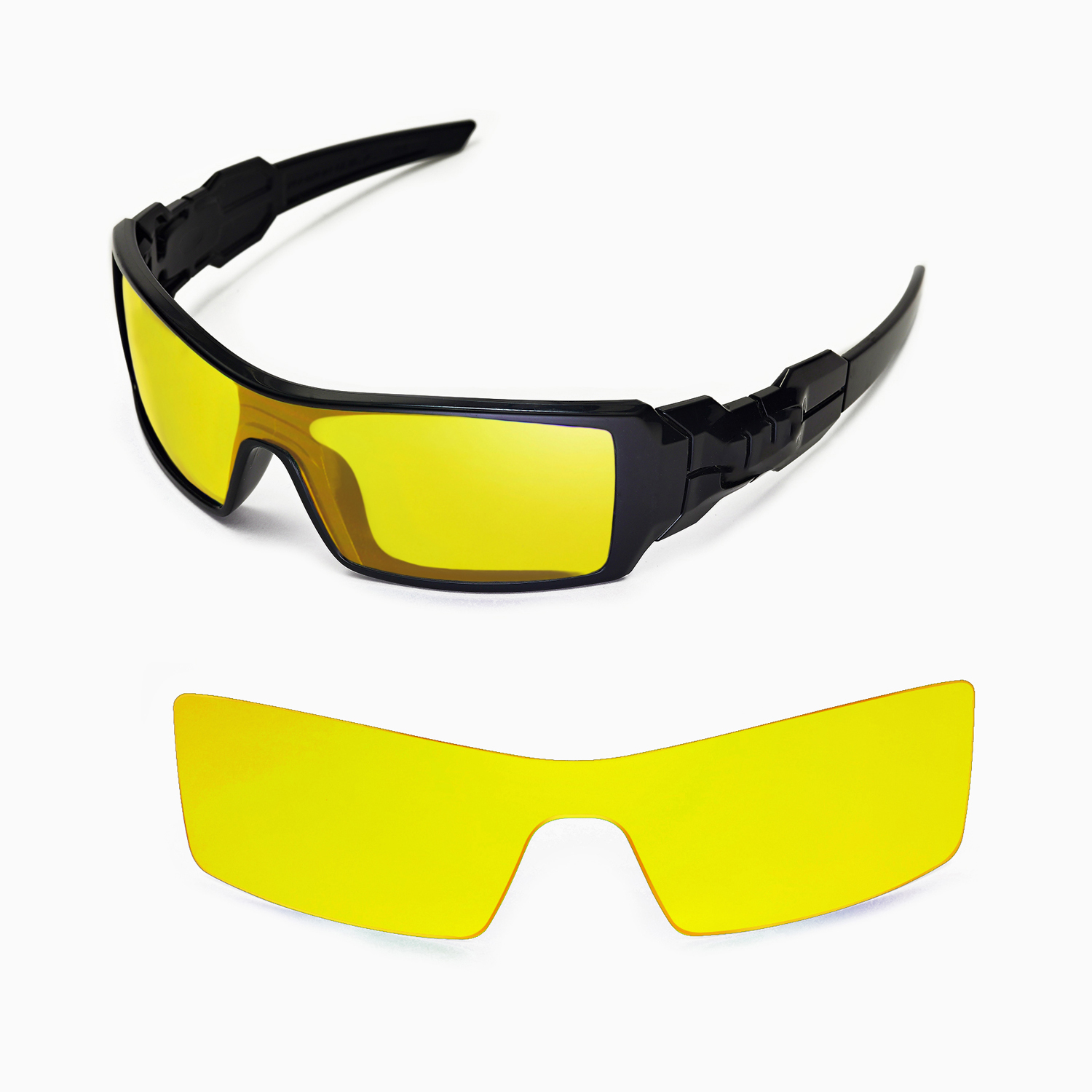 Walleva Yellow Lenses for Oakley Oil Rig x1; Walleva Microfiber Lens  Cleaning Cloth x1. main image
