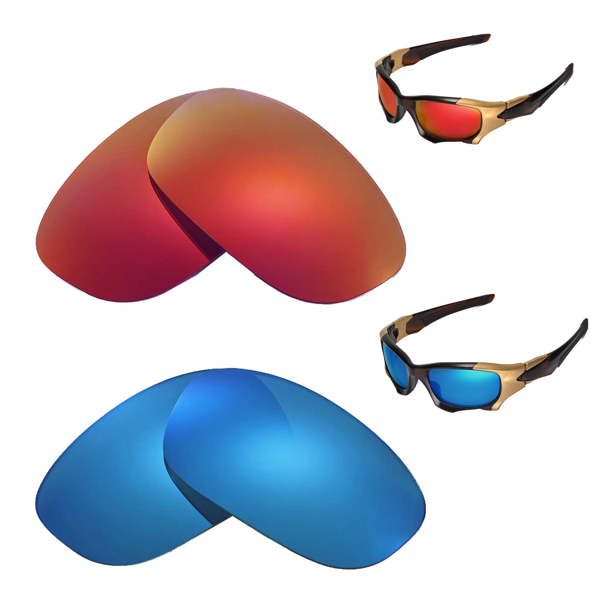 2ad85f77c4 Details about New Walleva Polarized Fire Red+Ice Blue Replacement Lenses 4  Oakley PIT BOSS II