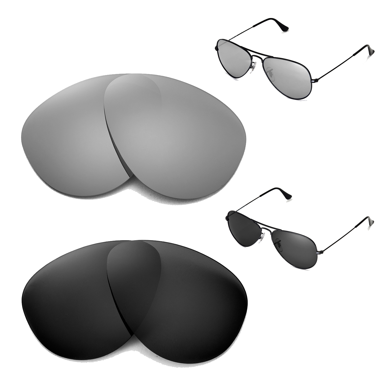 52b753d9c Details about WL Polarized Titanium + Black Lenses for Ray-Ban Aviator  Large Metal RB3025 55mm