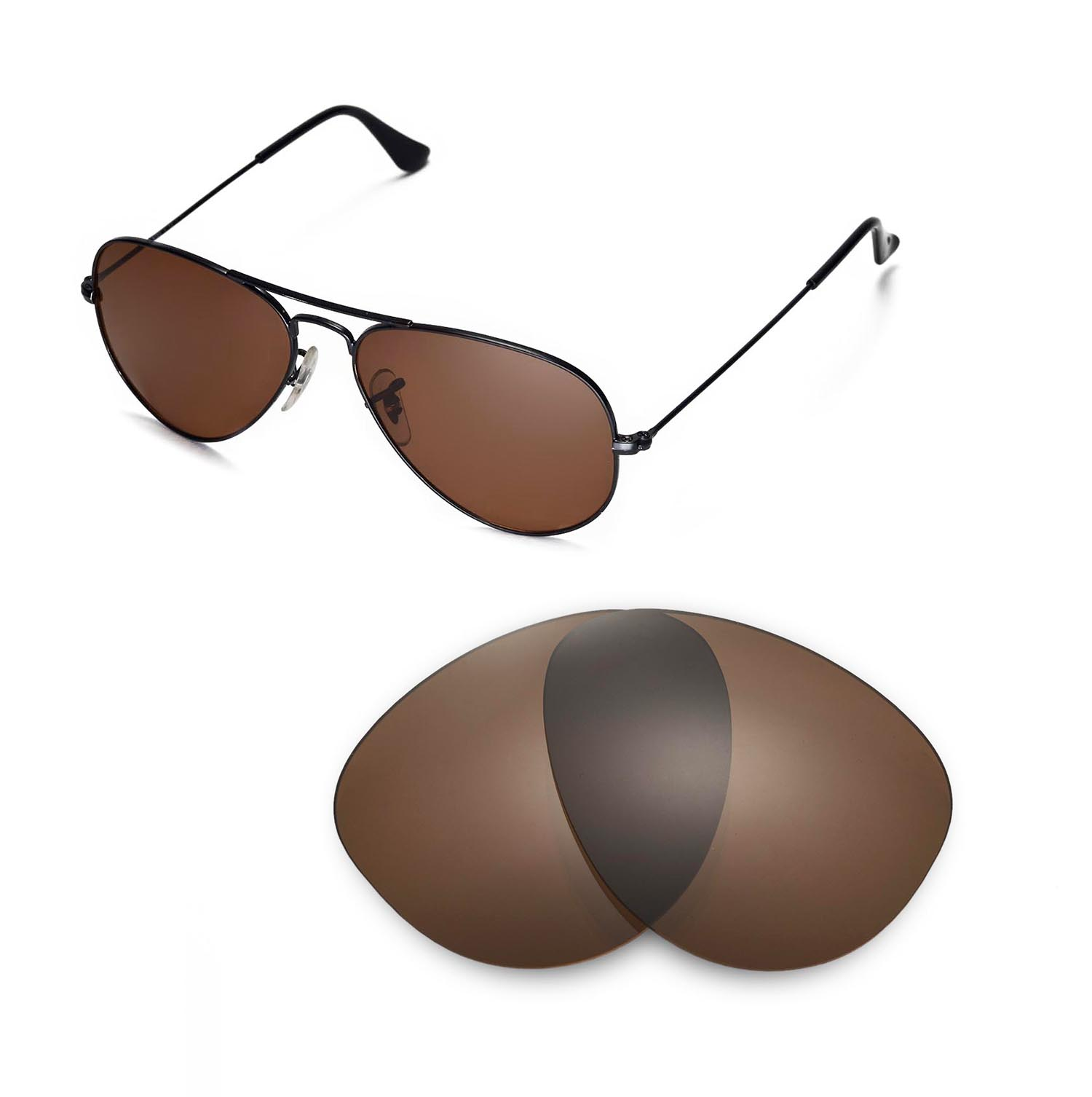 b15e70d8e9 Walleva Polarized Brown Lenses for Ray-Ban Aviator Large Metal 55mm x1   Walleva Microfiber Lens Cleaning Cloth x1. main image