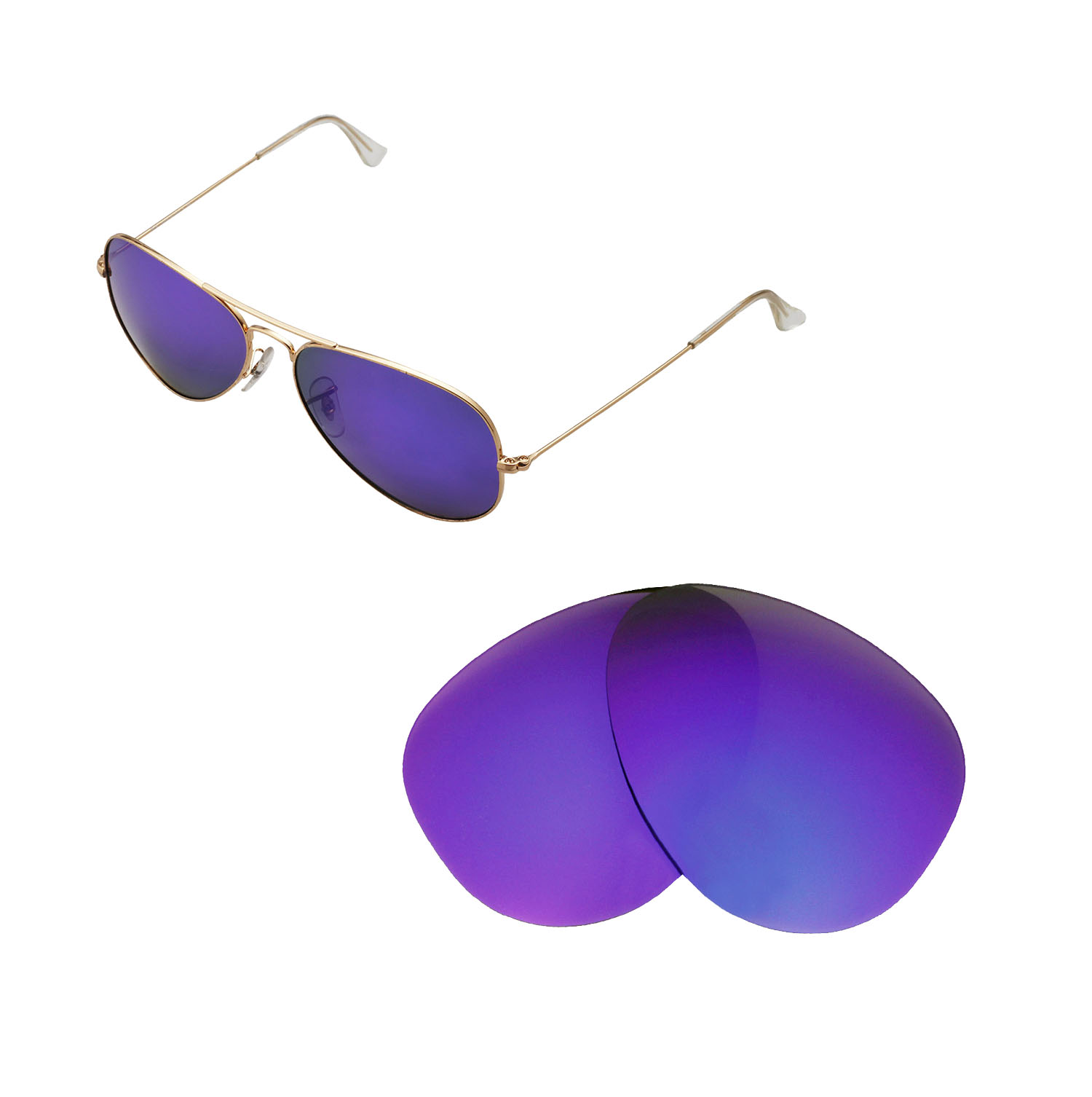 dd586db1d9f Details about New WL Polarized Purple Lenses For Ray-Ban Aviator Large  Metal RB3025 58mm