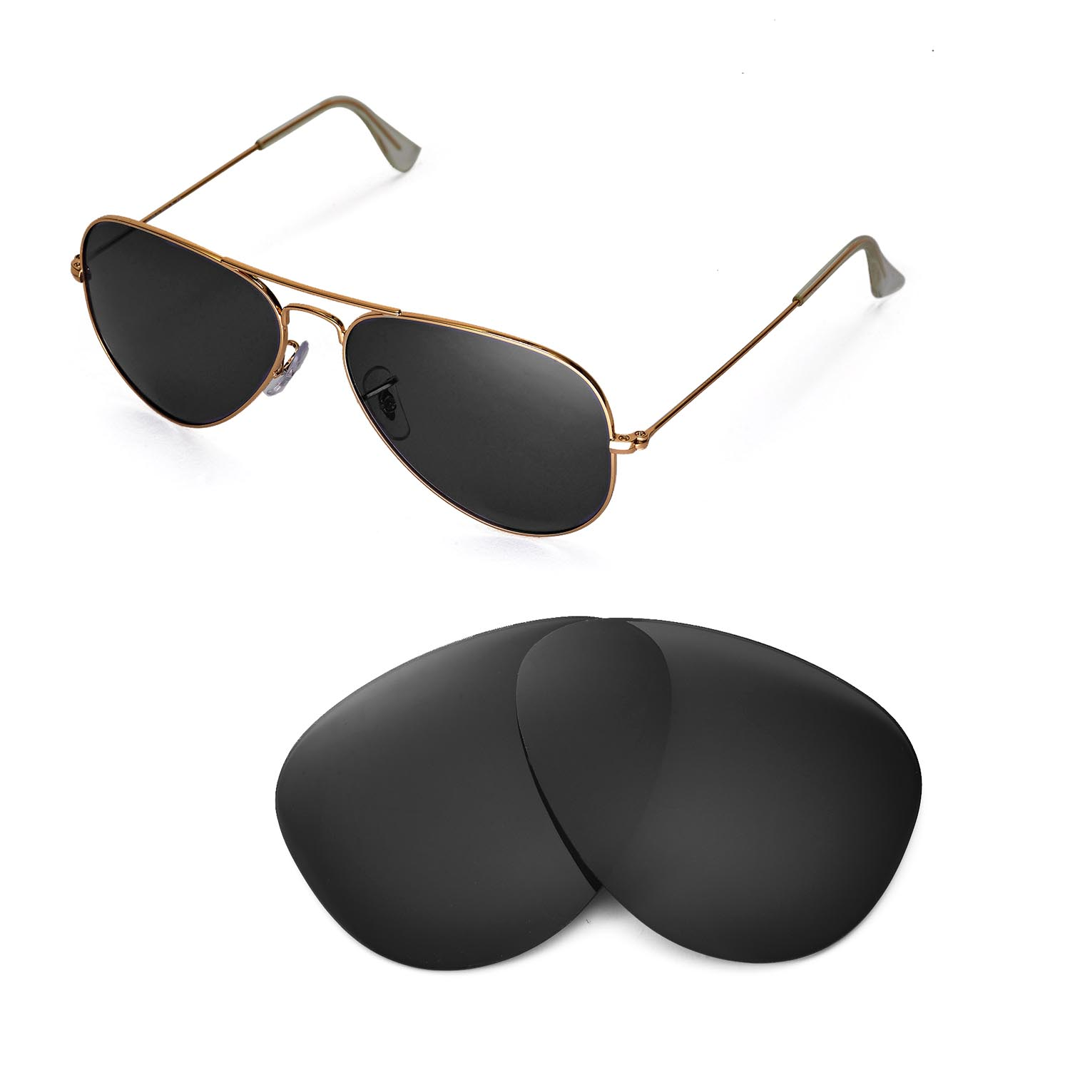 4312b01435 Details about New Walleva Polarized Black Lenses For Ray-Ban Aviator Large  Metal RB3025 58mm