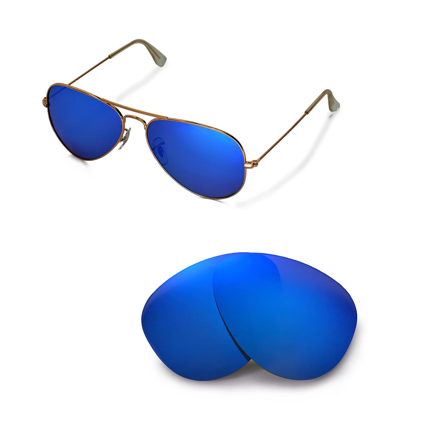 5fce41a8022 Details about New WL Polarized Ice Blue Lenses For Ray-Ban Aviator Large  Metal RB3025 58mm