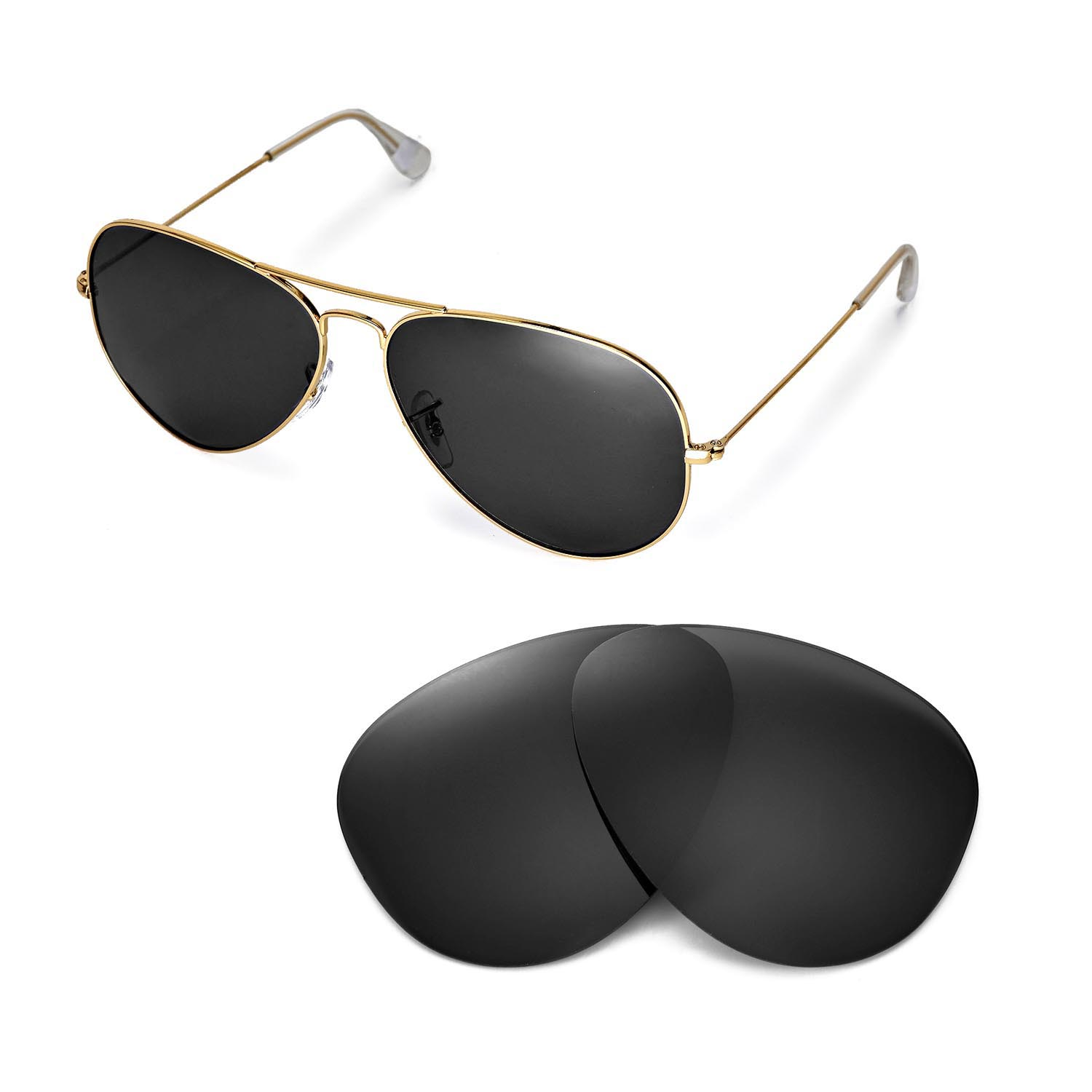 431aa7313ce Details about New Walleva Polarized Black Lenses For Ray-Ban Aviator Large  Metal RB3025 62mm