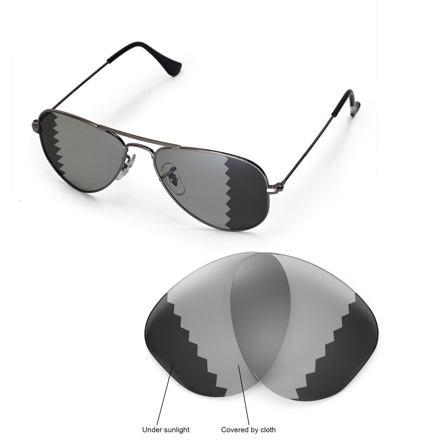 1025efb2b36 Details about New WL Polarized Transition Lenses For Ray-Ban Aviator RB3044  Small Metal 52mm