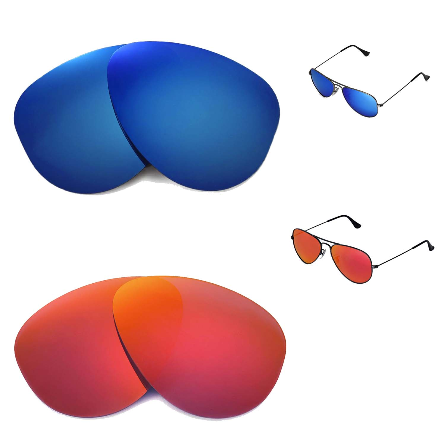51f7301a33f Details about WL Polarized Fire Red+Ice Blue Lenses 4 Ray-Ban Aviator  RB3044 Small Metal 52mm