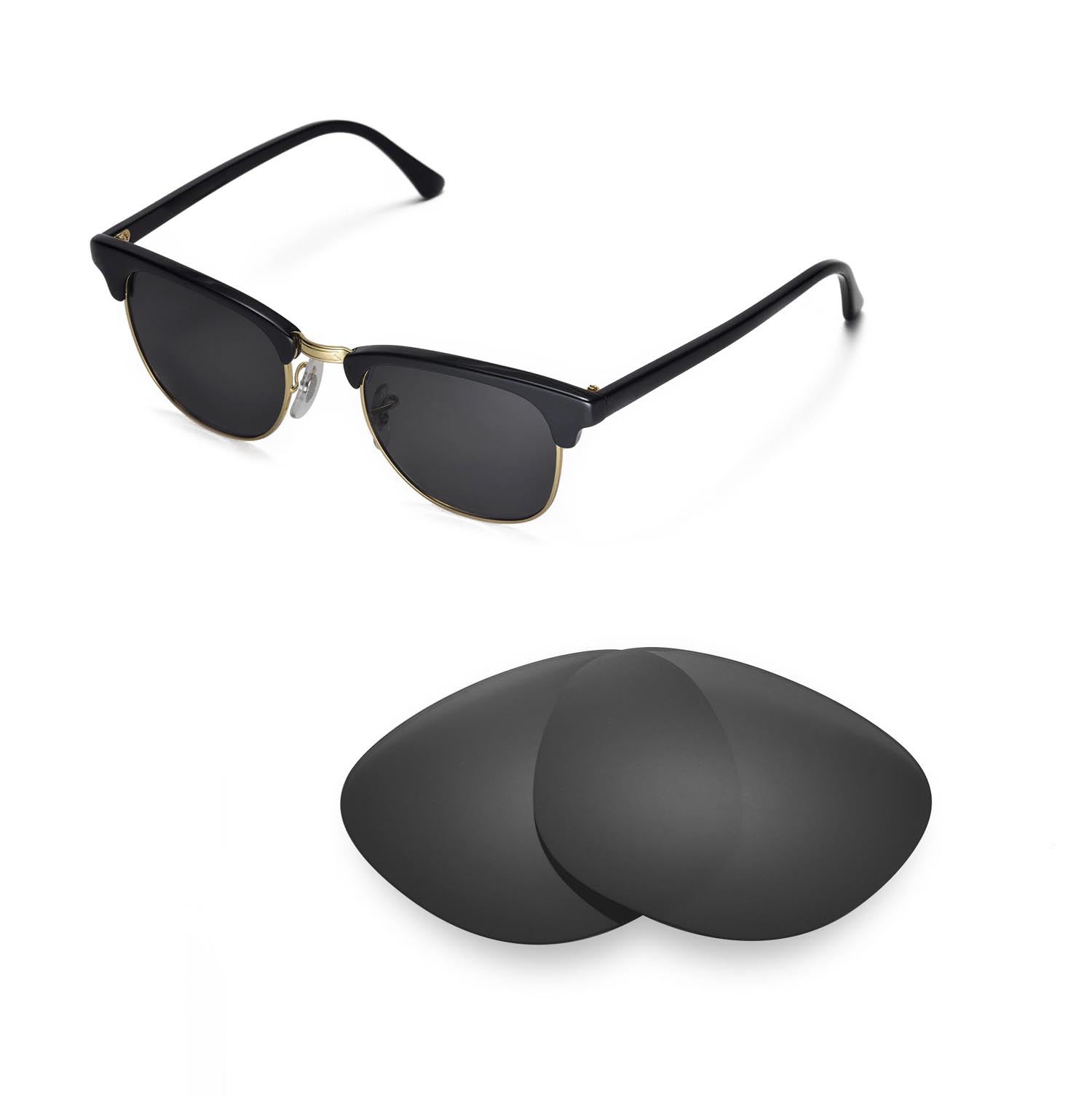 8b0055e048 Details about New Walleva Polarized Black Lenses For Ray-Ban Clubmaster  RB3016 49mm Sunglasses