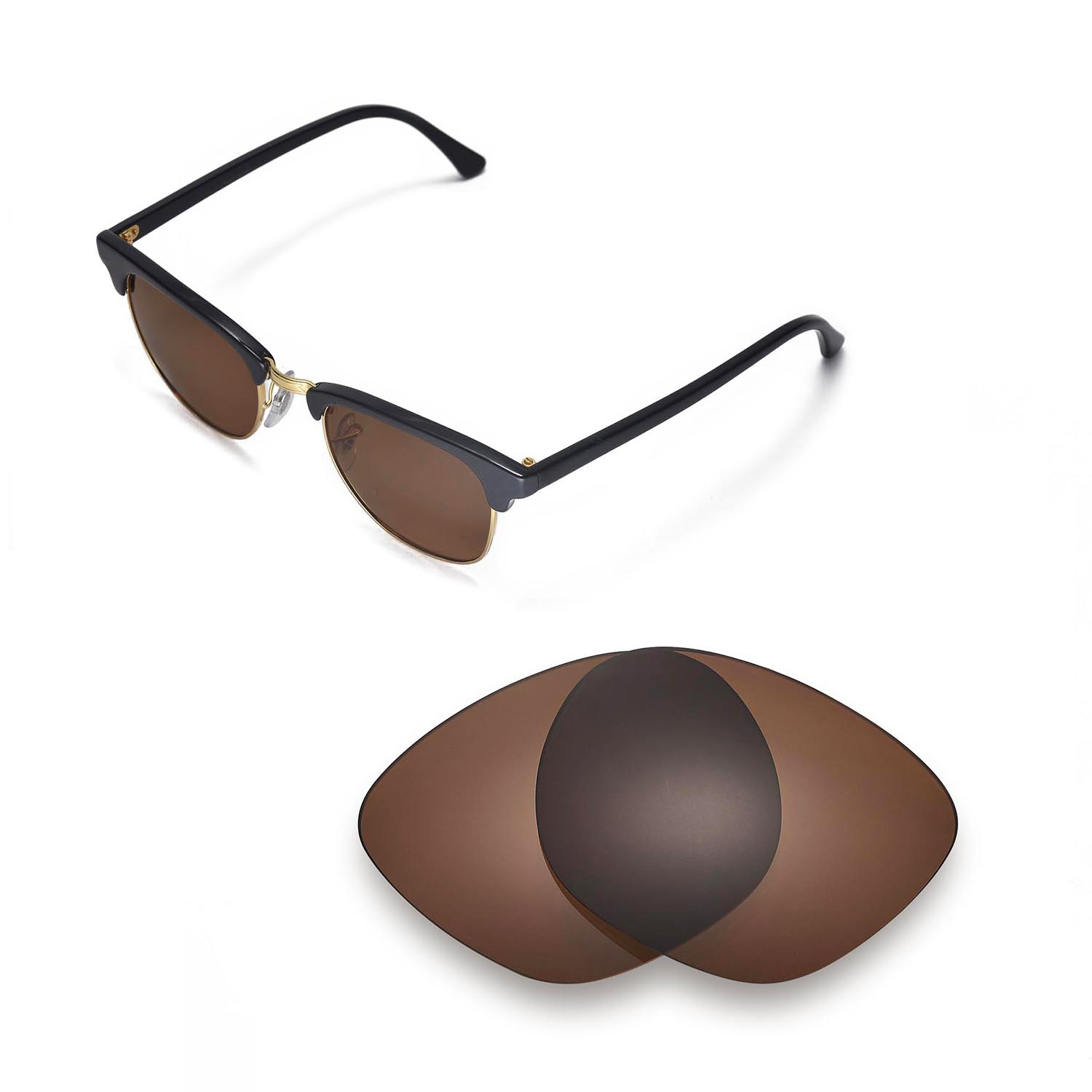 2b6a1eb34b Details about Walleva Polarized Brown Lenses For Ray-Ban Clubmaster RB3016  49mm Sunglasses