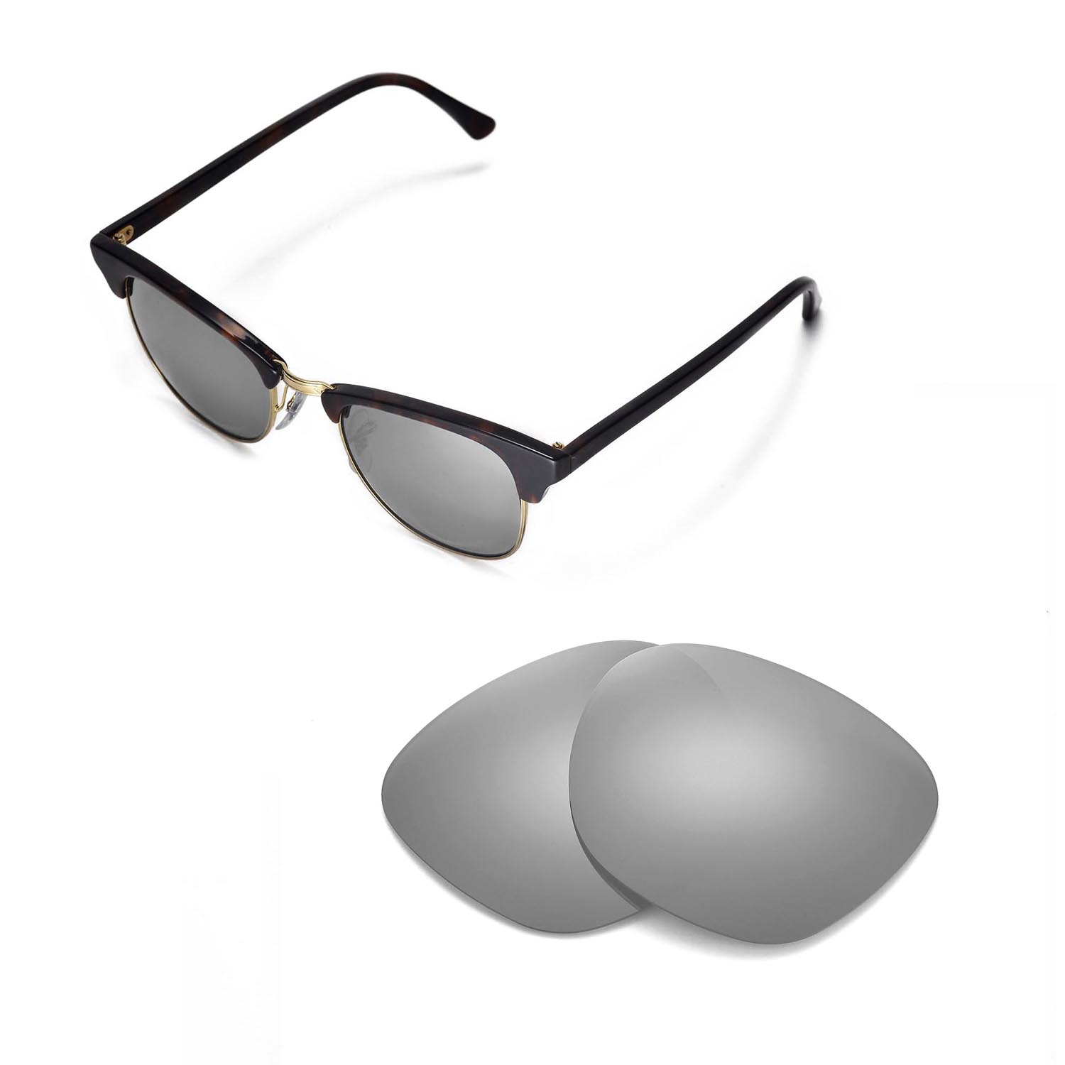 d7f78e231bf Details about Walleva Polarized Titanium Lenses For Ray-Ban Clubmaster  RB3016 51mm Sunglasses