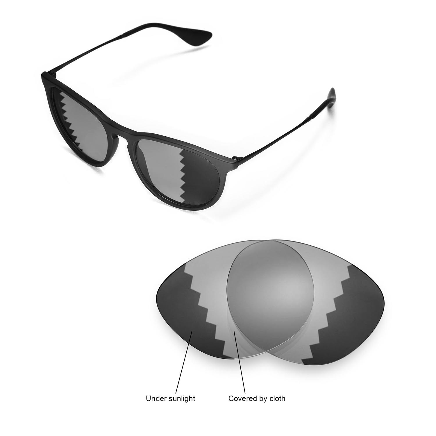 15139f2a2be Details about New Walleva Polarized Transition Lenses For Ray-Ban Erika  RB4171 54m Sunglasses