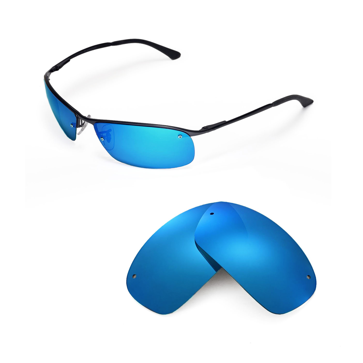 11d22aee39 Details about New Walleva Polarized Ice Blue Replacement For Ray-Ban RB3183  63mm