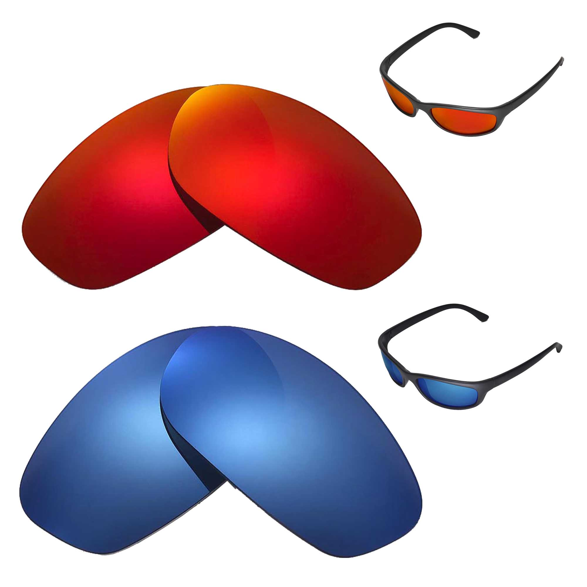 cec3469673 Details about New Walleva Polarized Fire Red+Ice Blue Replacement For Ray- Ban RB4115