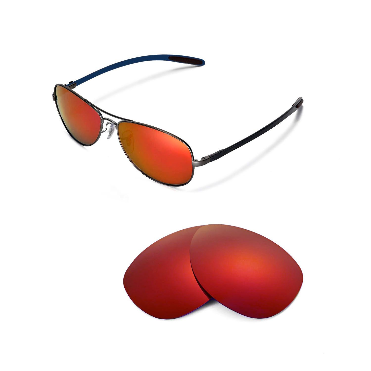 0e661a0ae5 Details about New Walleva Polarized Fire Red Replacement For Ray-Ban RB8301  59mm