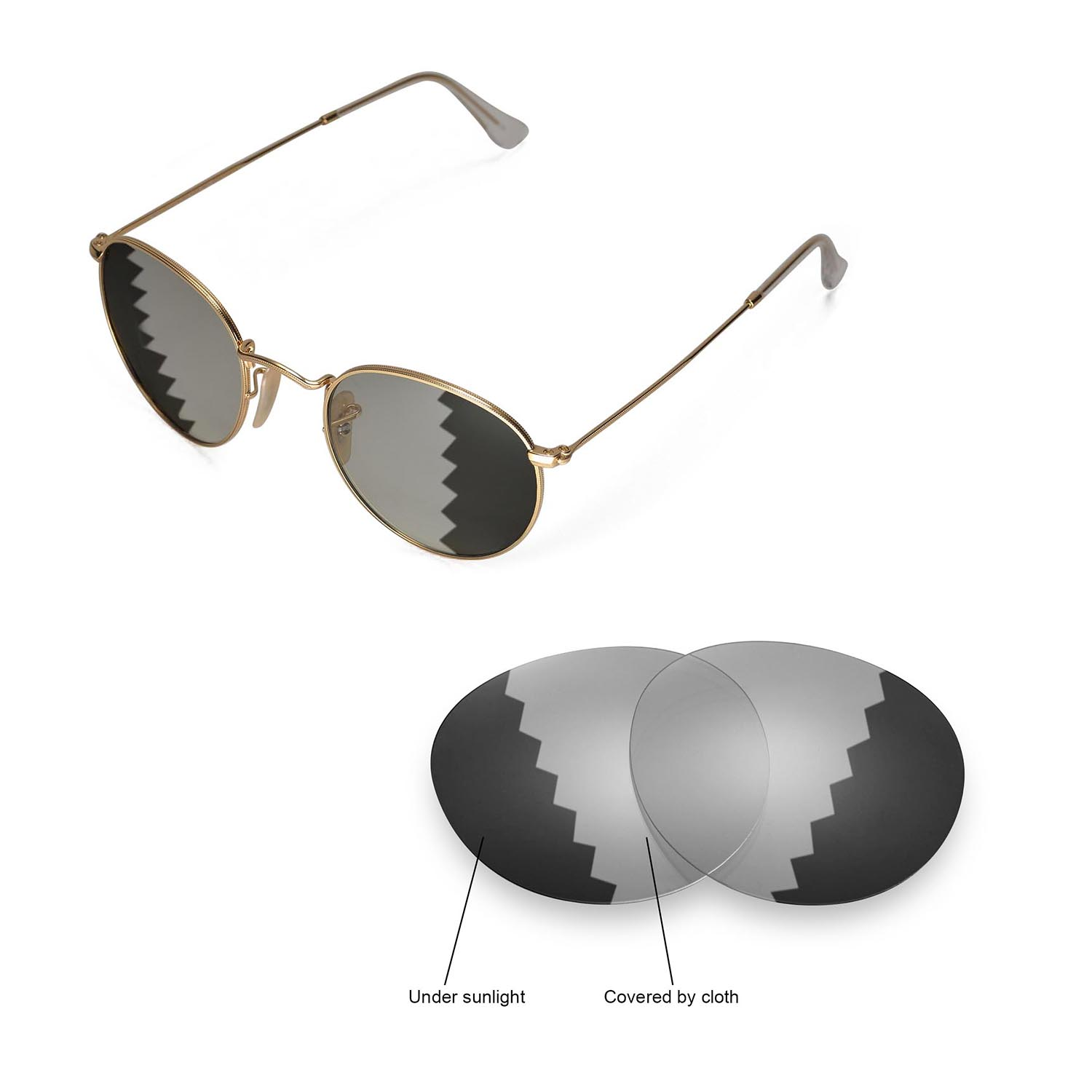 35b184e1d81 Details about Walleva Lenses for Ray-Ban Round Metal RB3447 50mm  Sunglasses-Multiple Options