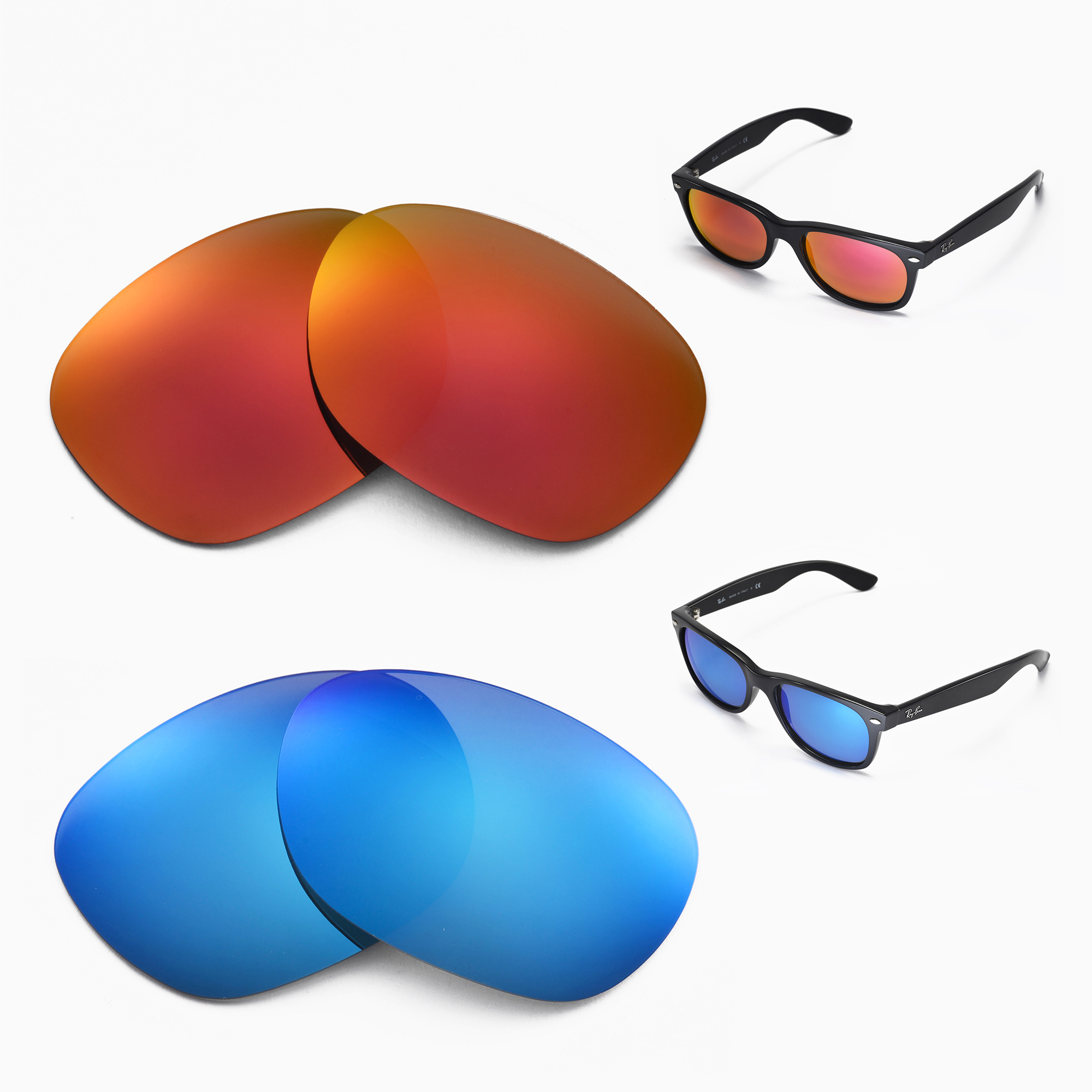 9a2d40a7bf Details about New Walleva Polarized Fire Red+ Ice Blue Lenses For Ray-Ban  Wayfarer RB2132 55mm