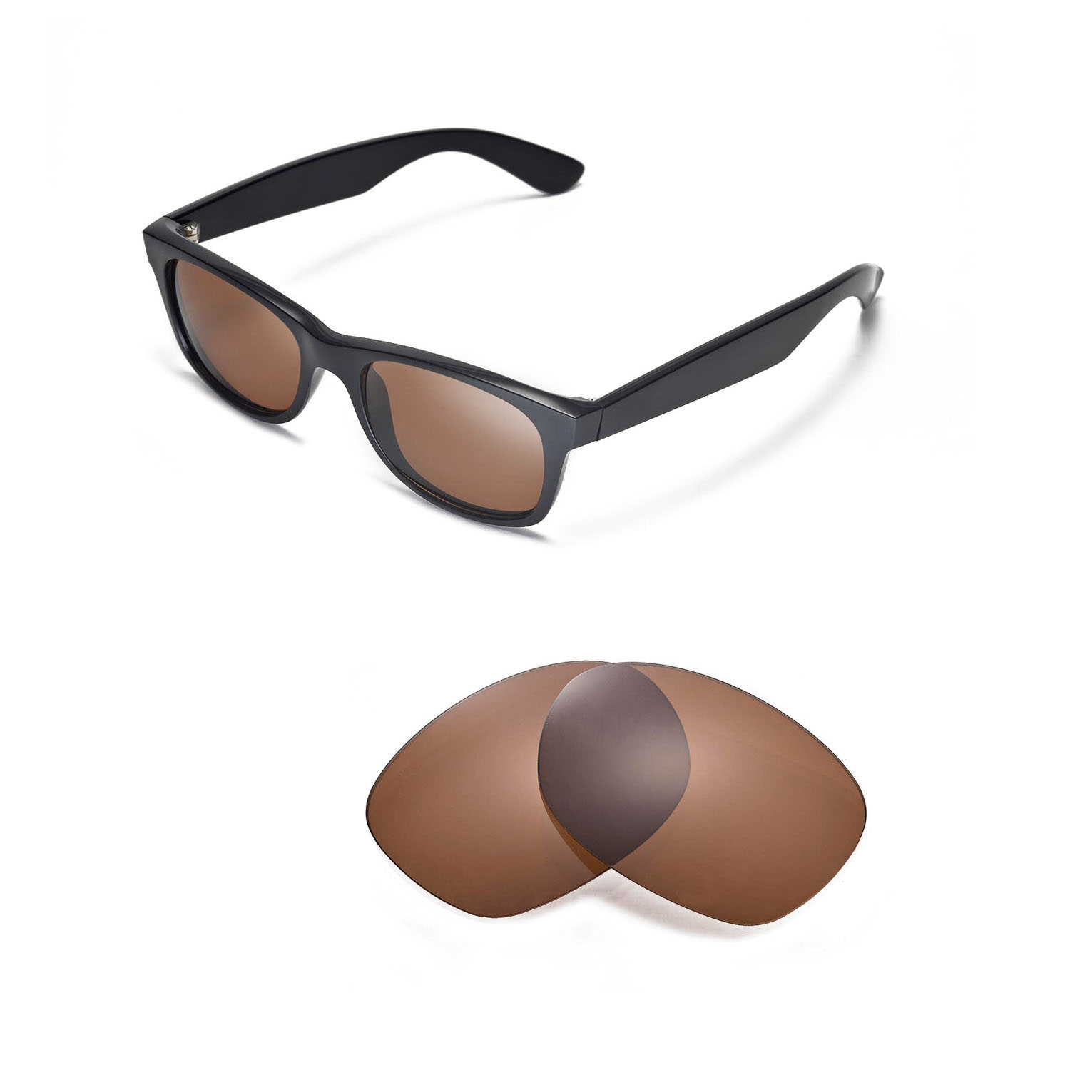 fcfe278954 Details about Walleva Polarized Brown Lenses For Ray-Ban Wayfarer RB2132  52mm