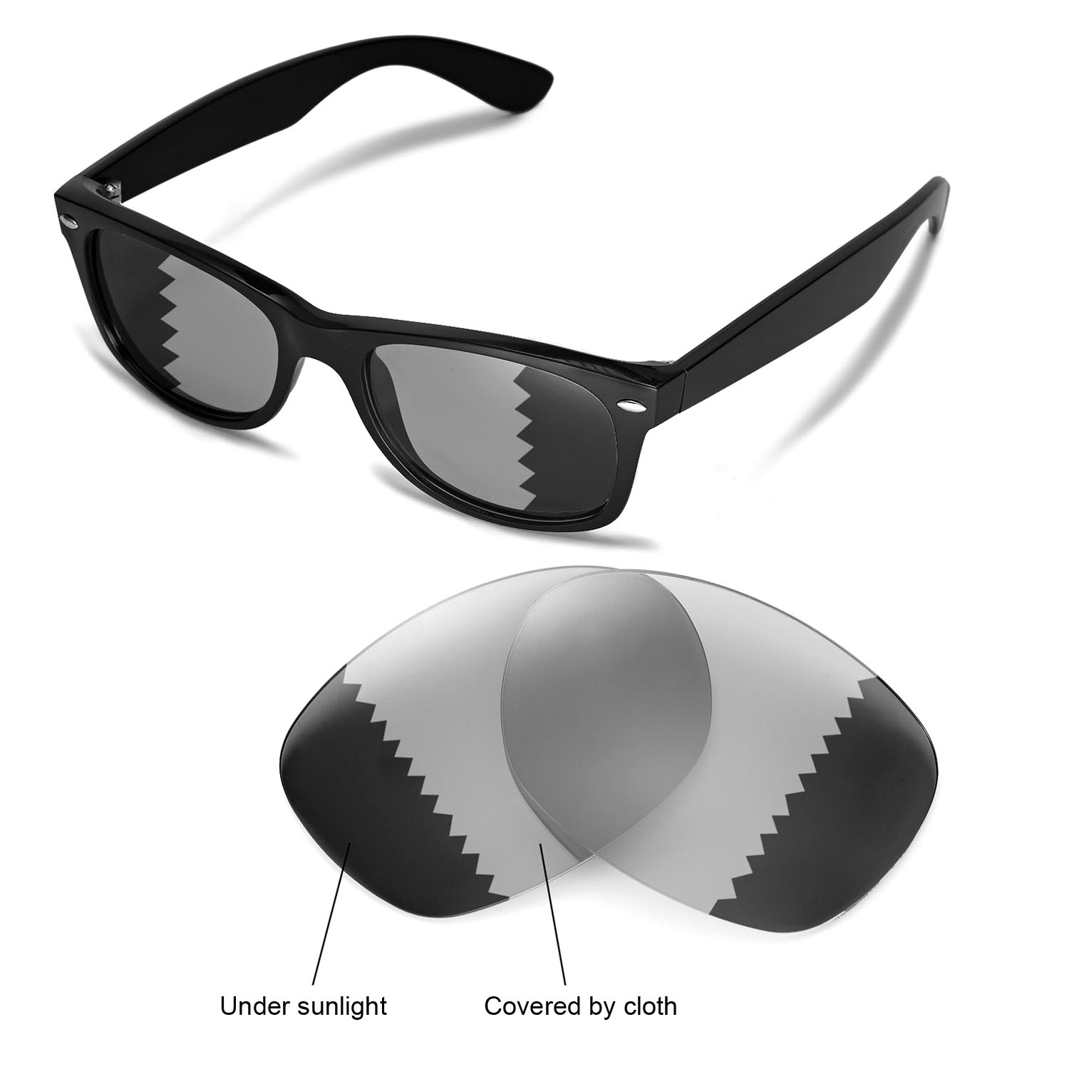 6ad053d8f5a Details about New WL Polarized Transition Photochromic Lenses For Ray-Ban  Wayfarer RB2132 52mm