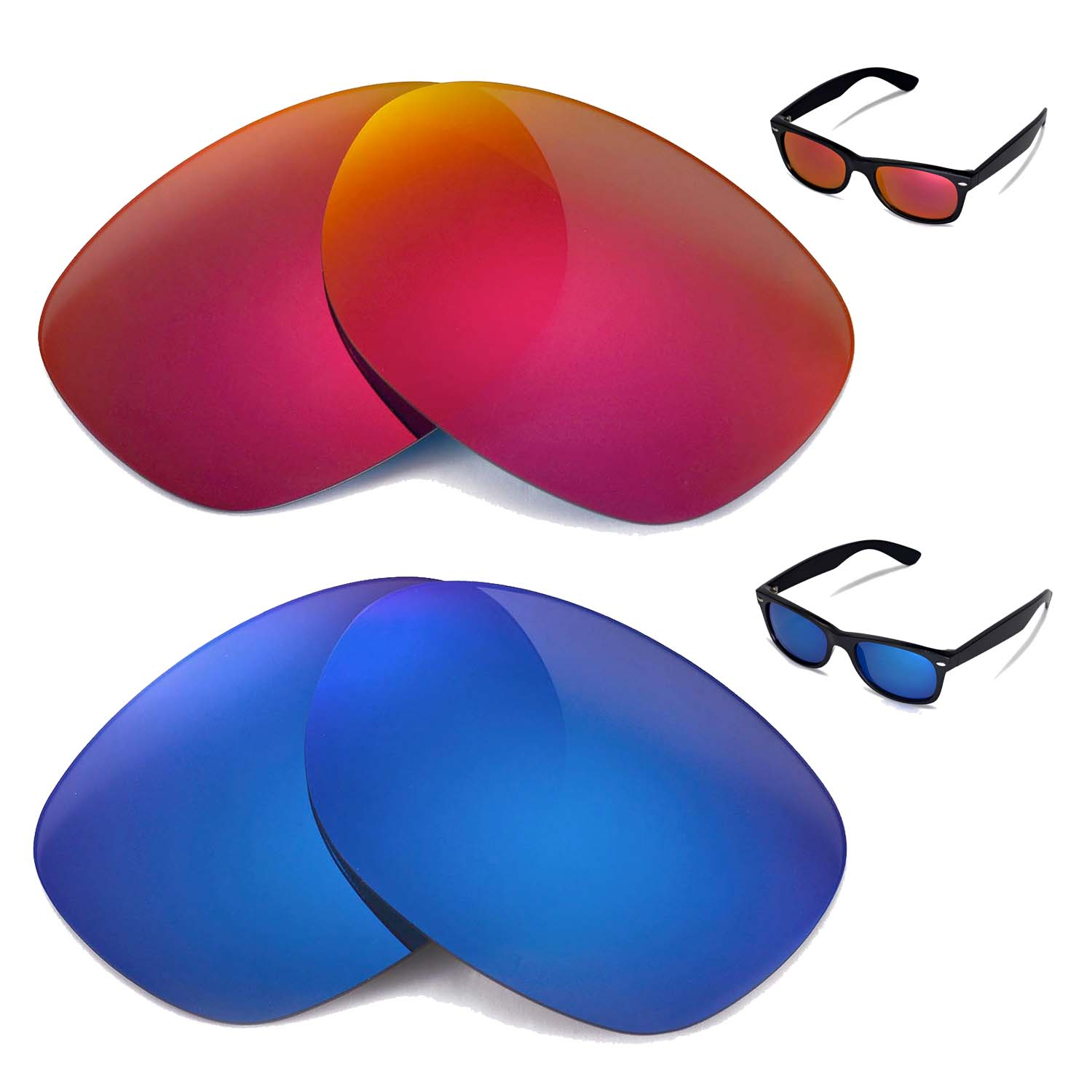 d53cebf25b Details about New WL Polarized Fire Red + Ice Blue Lenses For Ray-Ban  Wayfarer RB2132 52mm