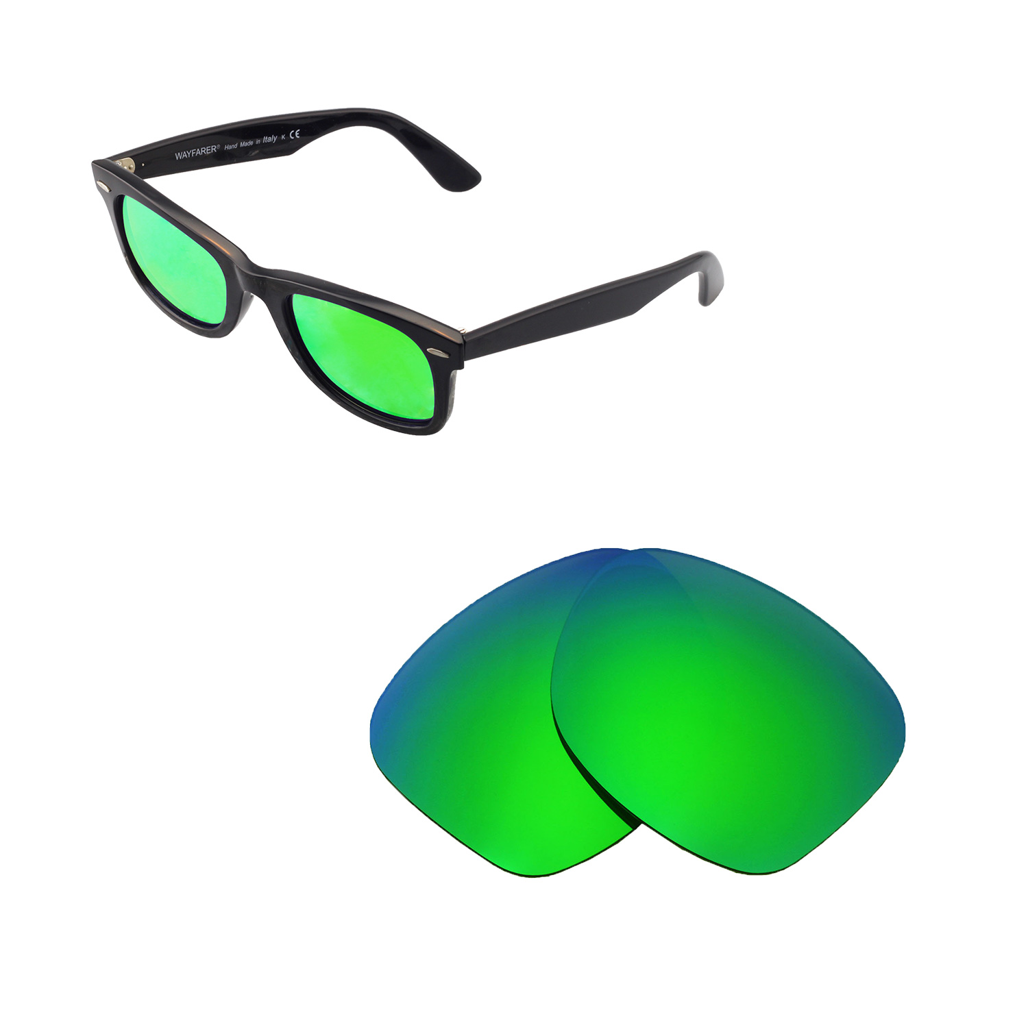 4af9aa44cfcd Details about New Walleva Polarized Emerald Lenses For Ray-Ban Wayfarer  RB2140 50mm