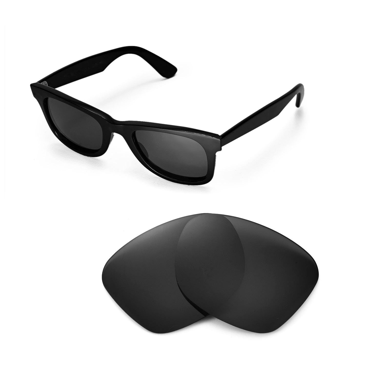 f9d9a4e5a1 New Walleva Polarized Black Lenses For Ray-Ban Wayfarer RB2140 50mm ...