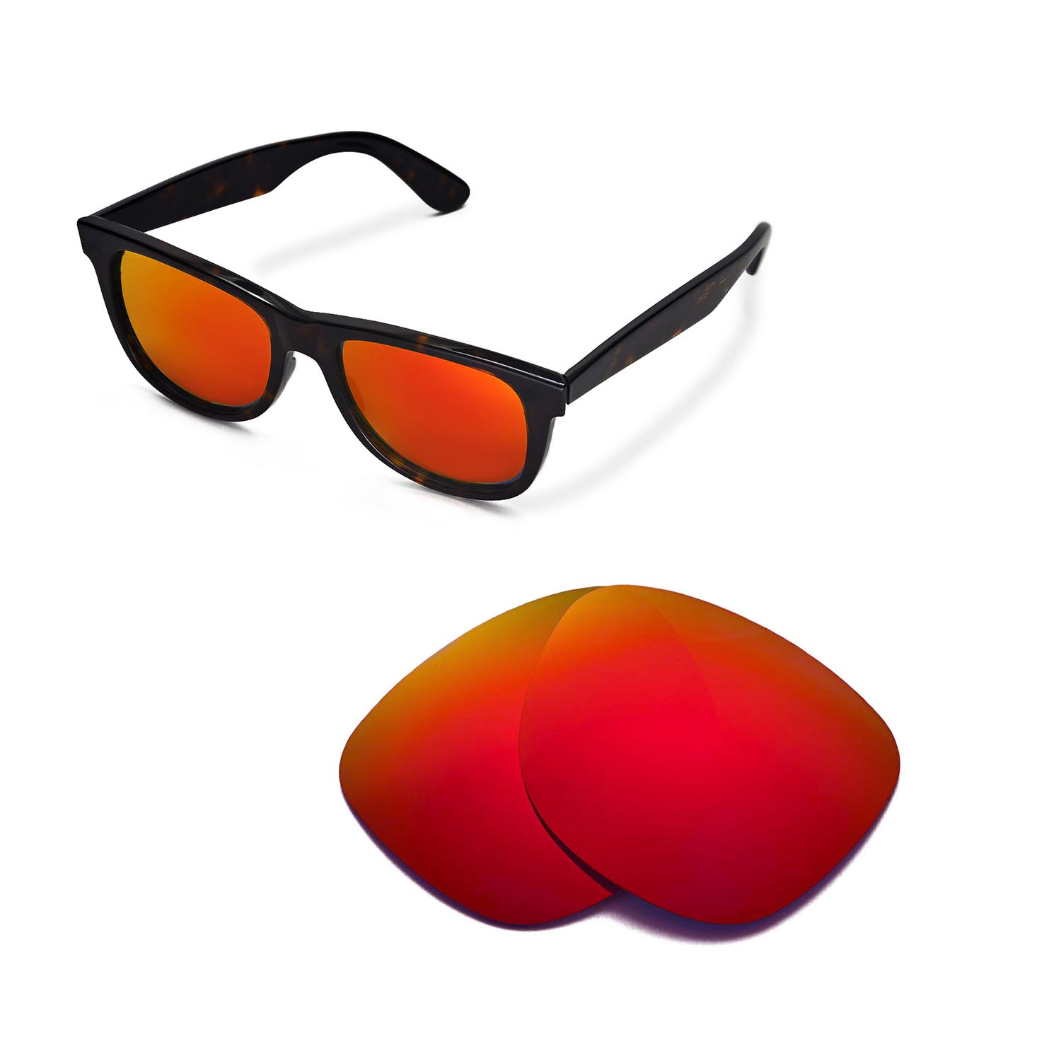 0f1ccc0a934 New Walleva Polarized Fire Red Lenses For Ray-Ban Wayfarer RB2140 ...