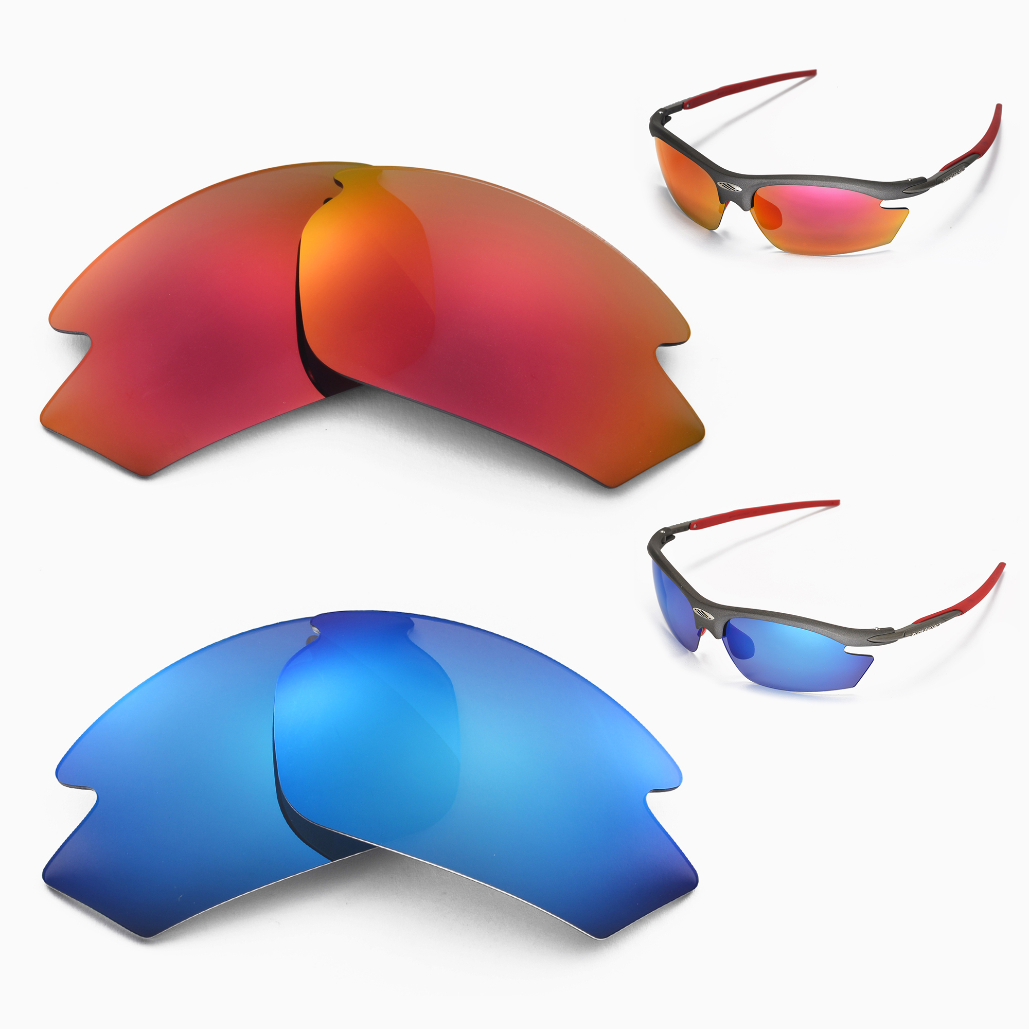 c0a3c3bf66 Details about Walleva Polarized Fire Red + Ice Blue Replacement Lenses For  Rudy Project Rydon