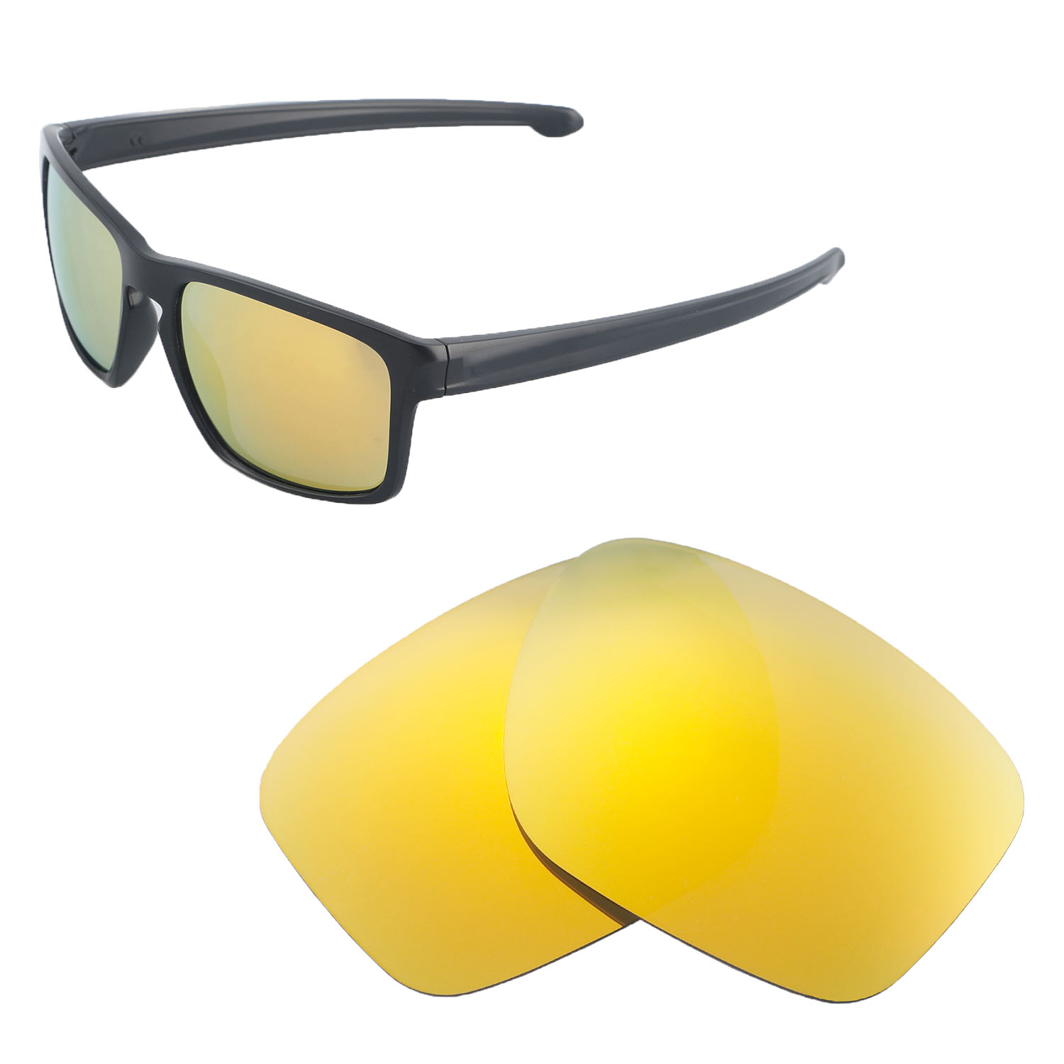 017ecdf75a Walleva Polarized 24K Gold Lenses for Oakley Sliver x1  Walleva Microfiber  Lens Cleaning Cloth x1. main image