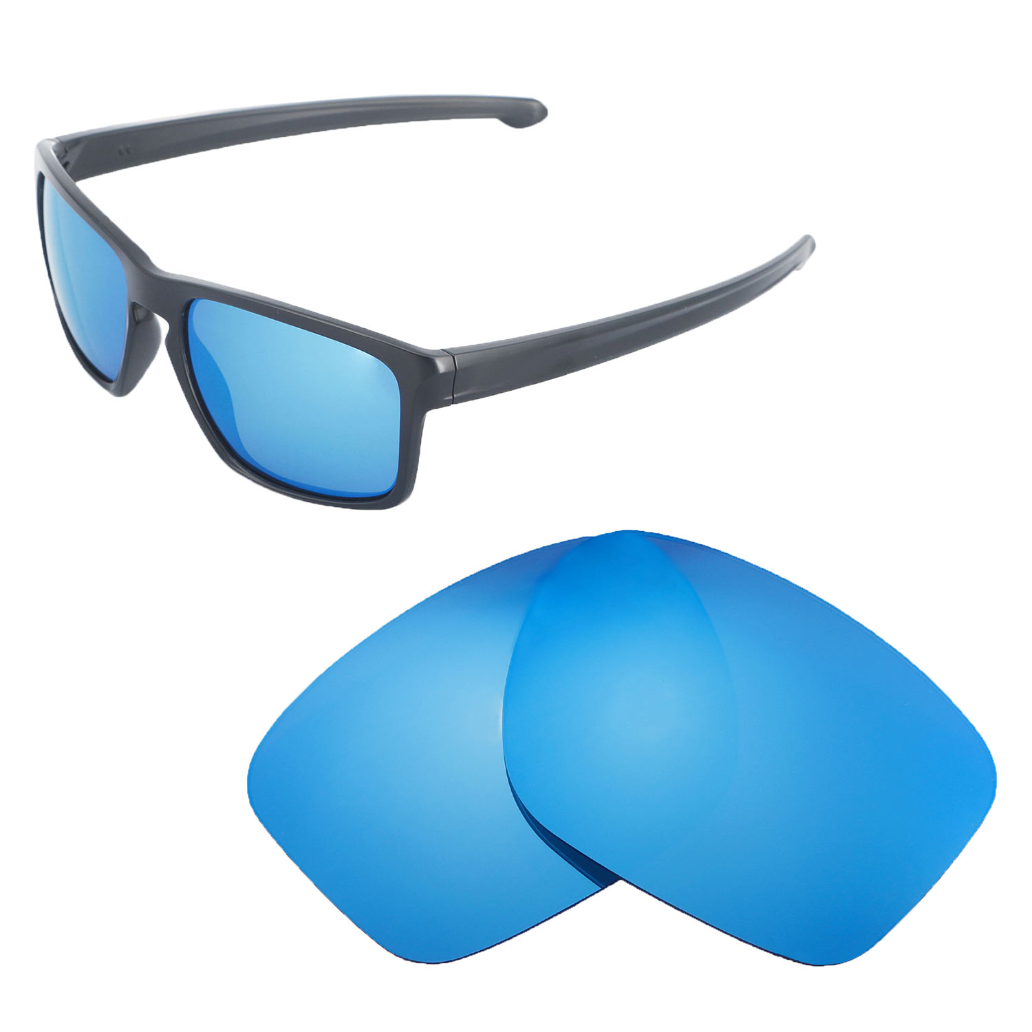 08383ab32a Details about New Walleva Ice Blue Polarized Replacement Lenses For Oakley  Sliver Sunglasses