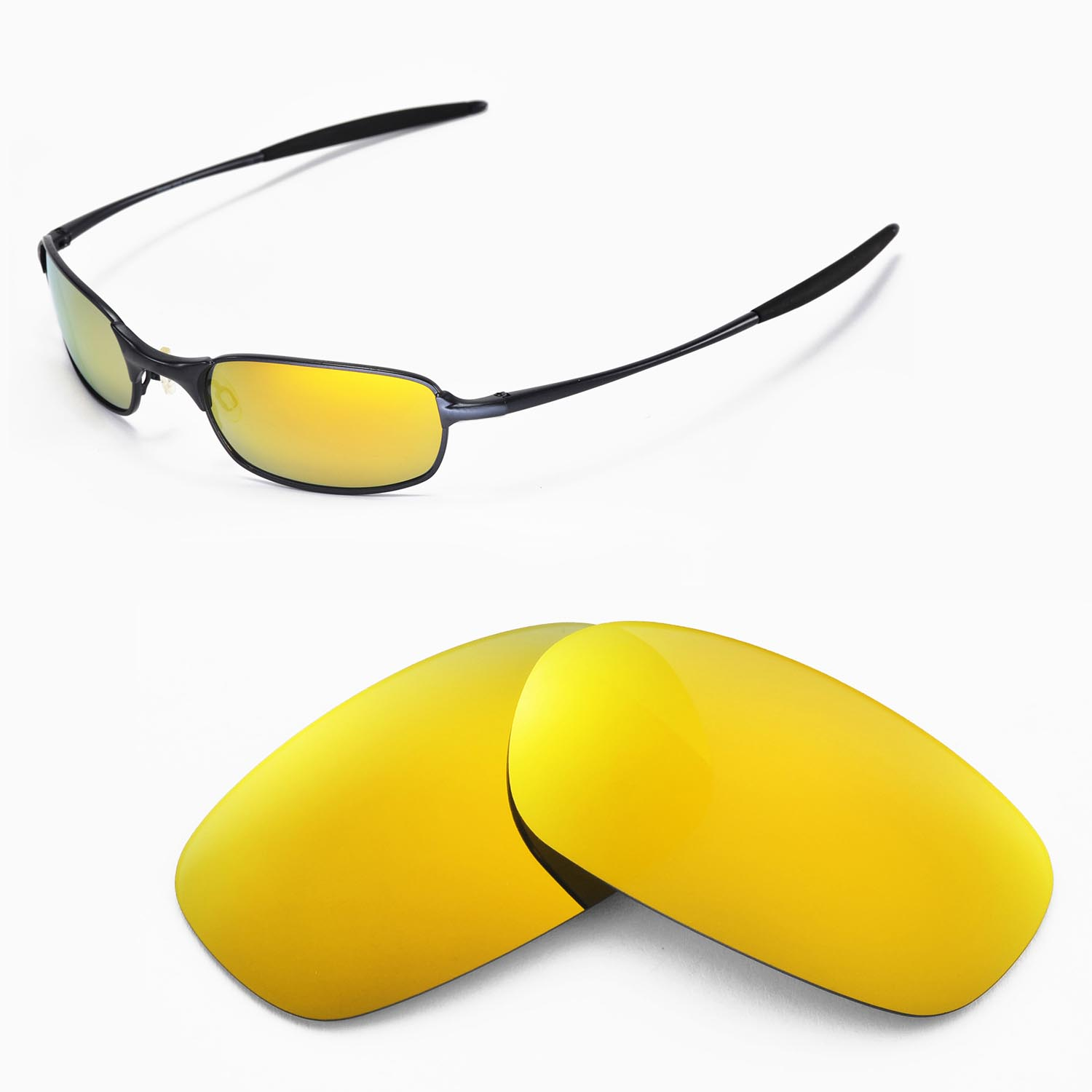 09f459b565bd0 Details about New Walleva Polarized 24K Gold Replacement Lenses For Oakley  Square Wire 2.0