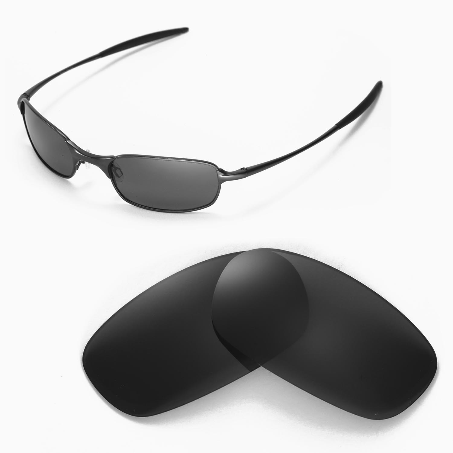 a50530ac99 Details about New Walleva Polarized Black Replacement Lenses For Oakley  Square Wire 2.0