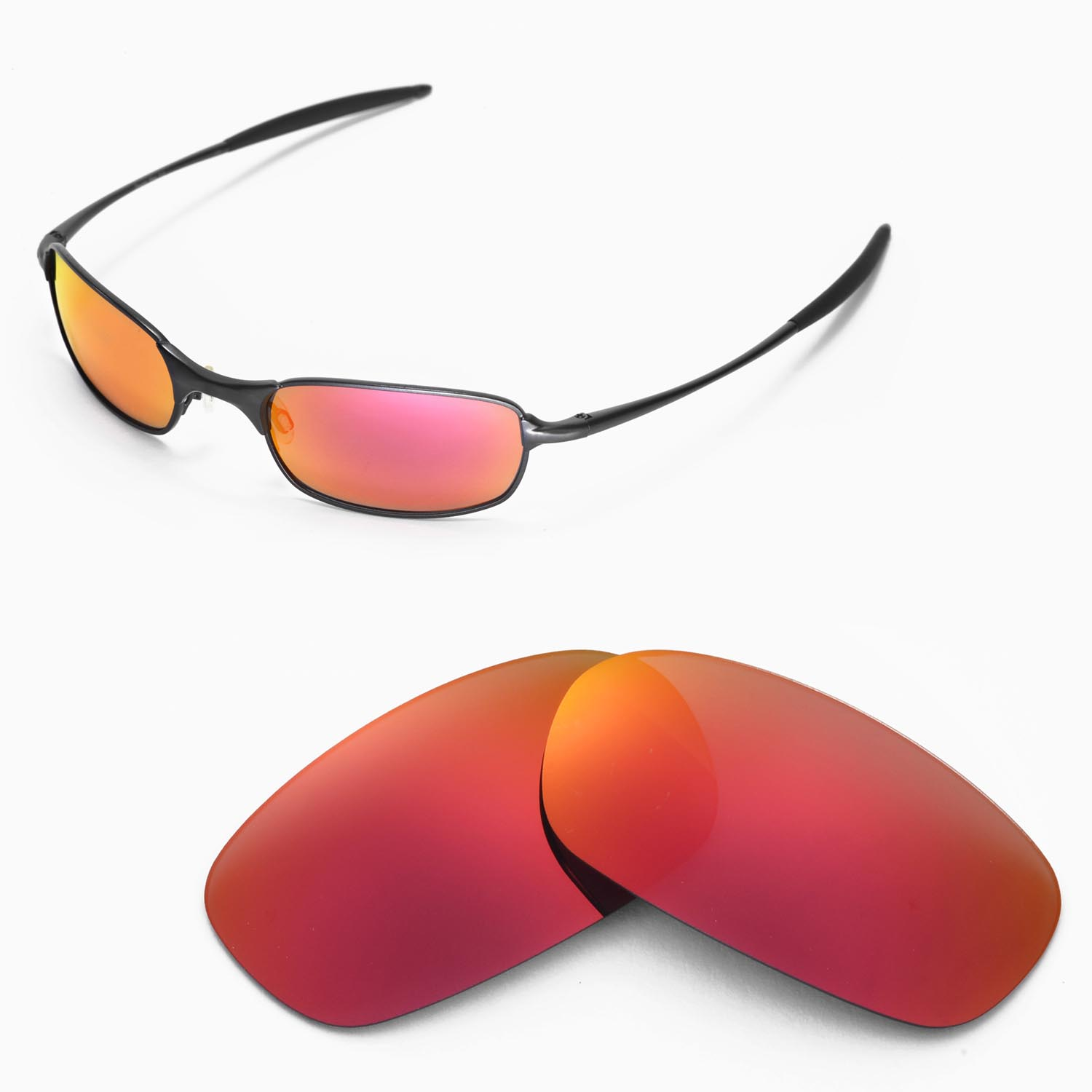 57d8298a40c36 Details about New Walleva Polarized Fire Red Lenses For Oakley Square Wire  2.0