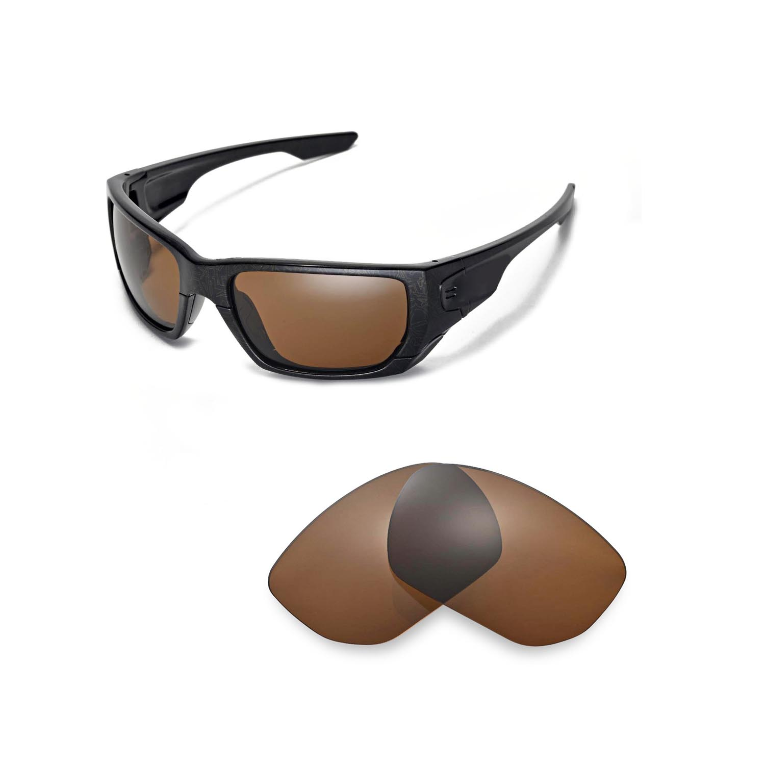 f298e7853ec Walleva Polarized Brown Lenses for Oakley Style Switch x1  Walleva  Microfiber Lens Cleaning Cloth x1. main image