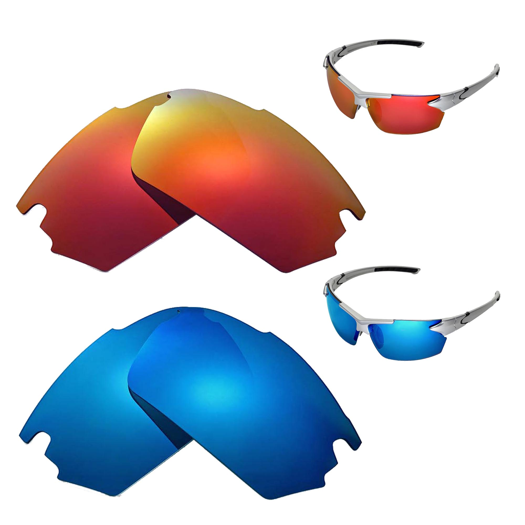 dcdb633618 Details about New Walleva Fire Red+Ice Blue Polarized Replacement Lenses  For TIFOSI Jet