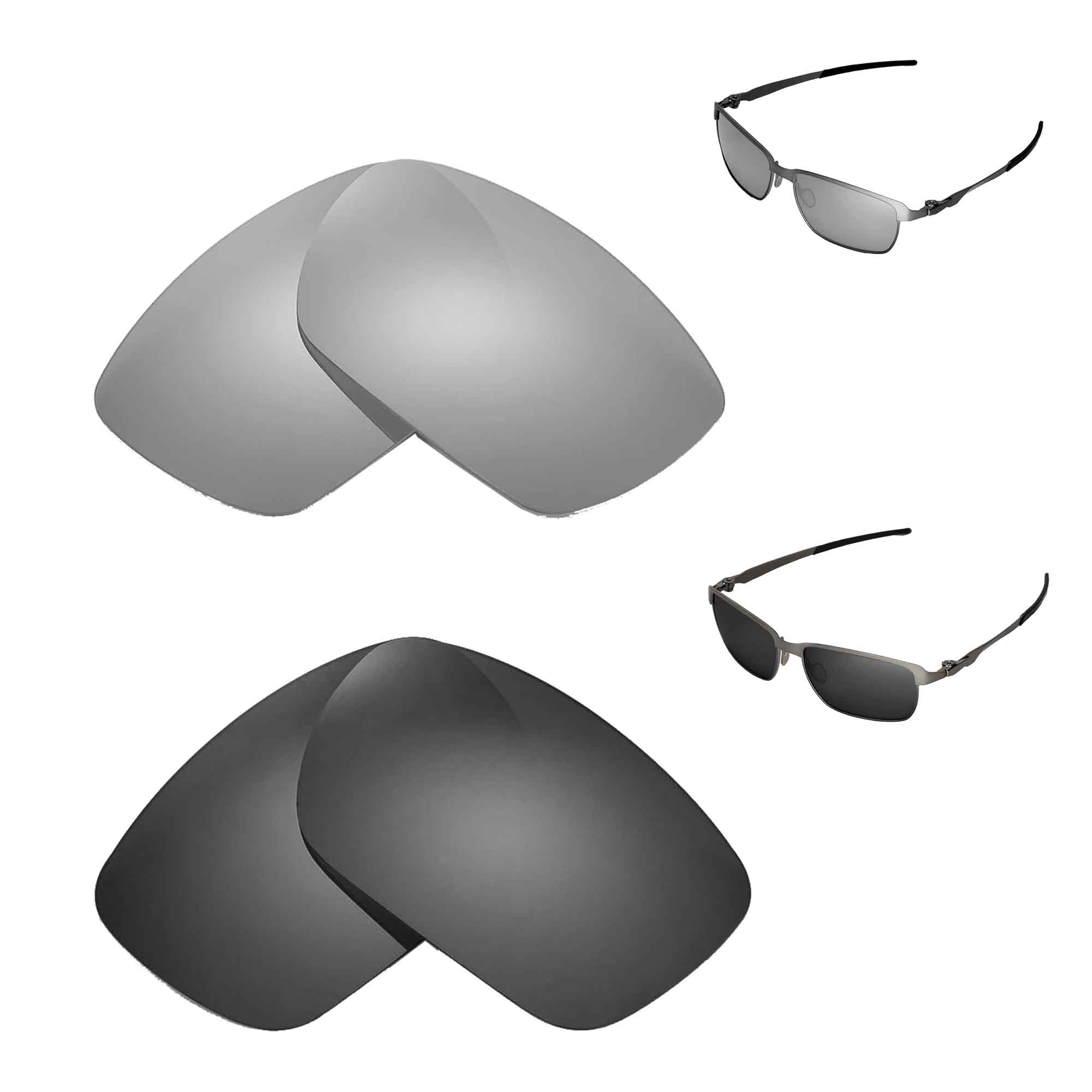 598ce1a34e Details about New Walleva Titanium + Black Polarized Replacement Lenses For  Oakley Tinfoil