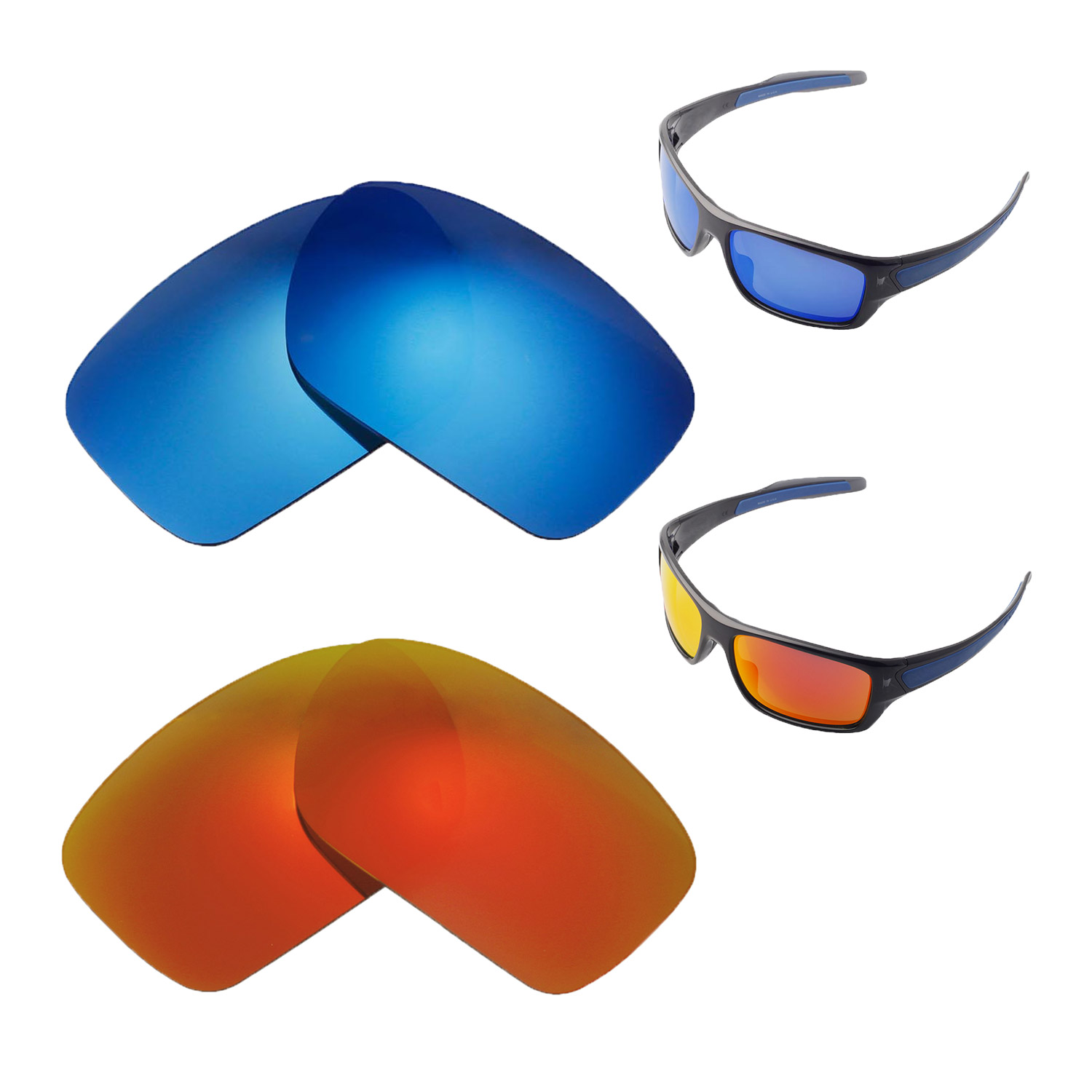 c04b4dd684 Details about Walleva Polarized Fire Red + Ice Blue Lenses For Oakley  Turbine Sunglasses
