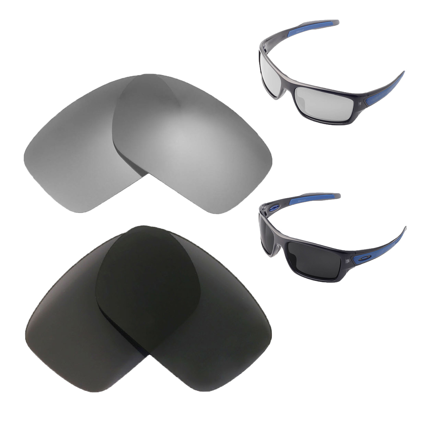 041dc0d18c Details about Walleva Polarized Titanium + Black Lenses For Oakley Turbine  Sunglasses