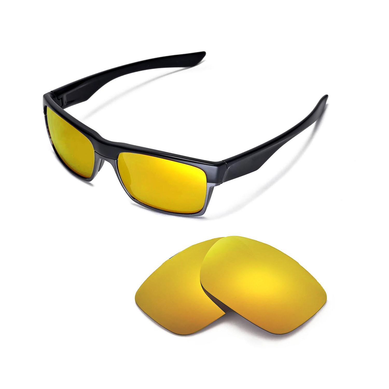 cd48591f9a Details about Walleva Polarized 24K Gold Replacement Lenses for Oakley  TwoFace Sunglasses