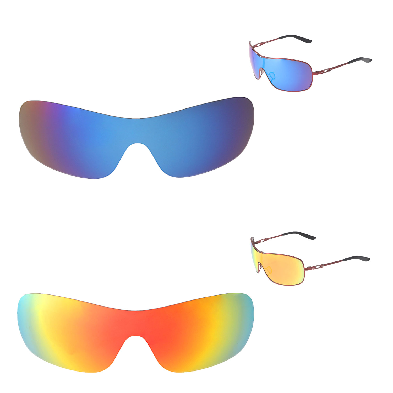 641b4c4f67 Details about Walleva Fire Red + Ice Blue Polarized Replacement Lenses For  Oakley Distress