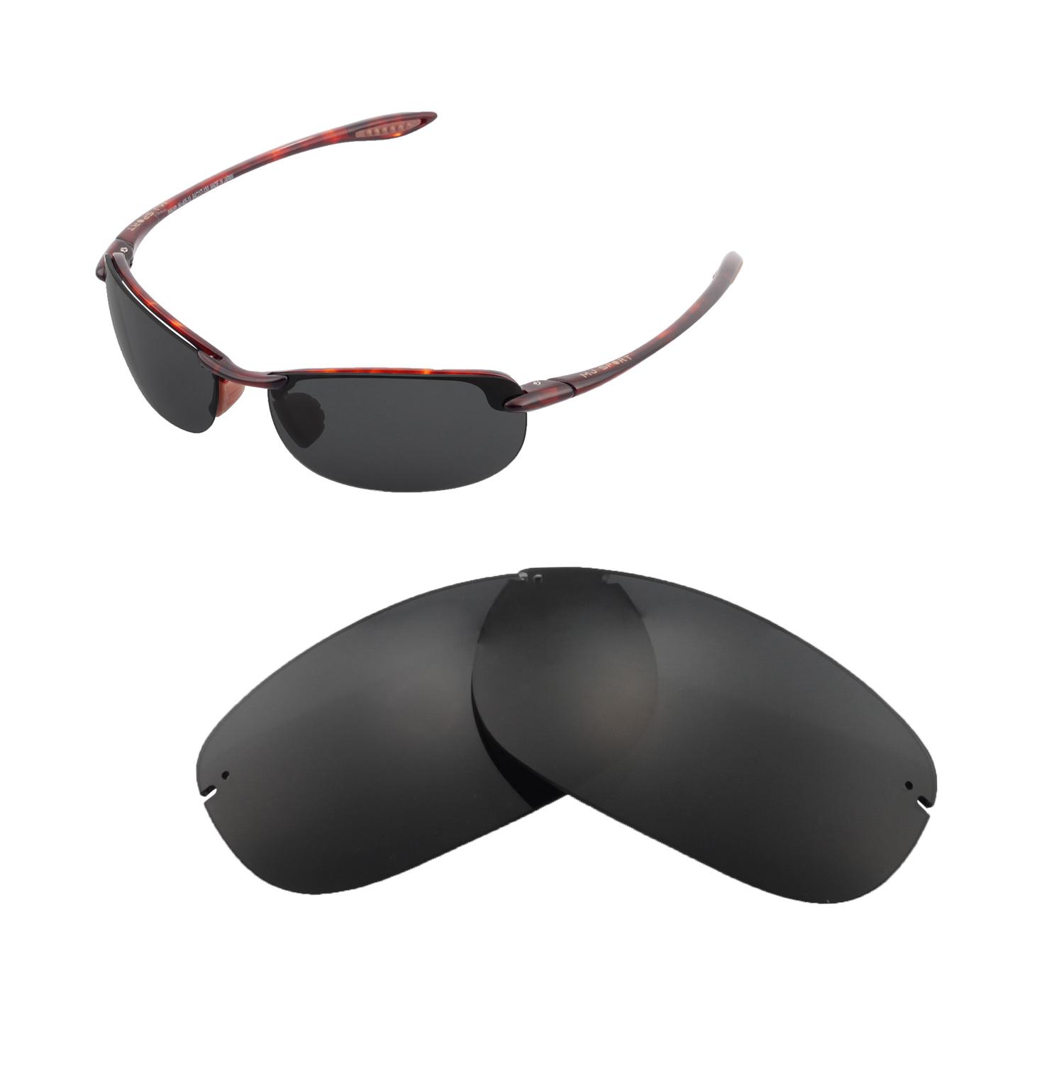 15461c426418 Details about Walleva Polarized Black Replacement Lenses For Maui Jim  Makaha Sunglasses