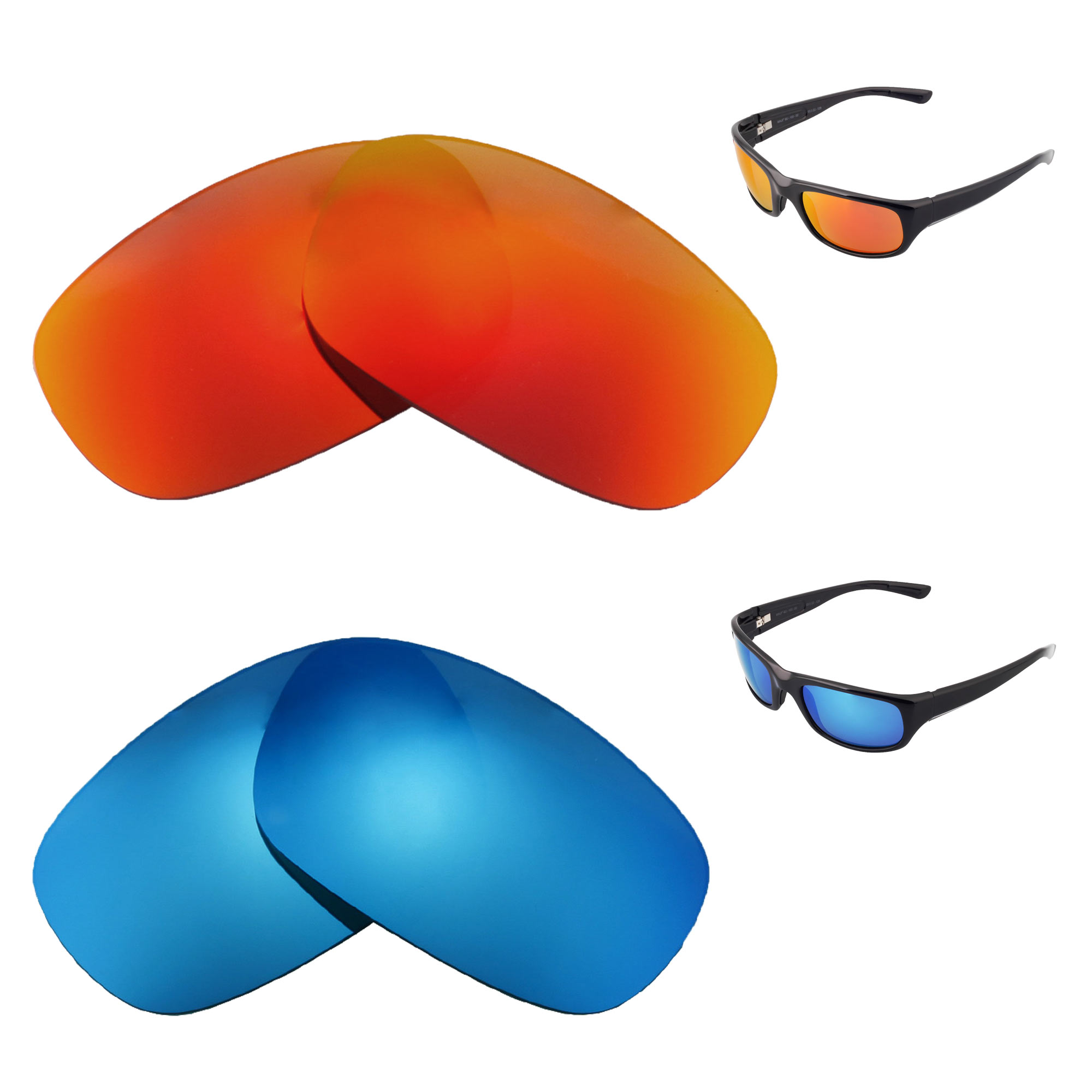 Walleva Polarized Fire Red Replacement Lenses For Maui Jim Kahuna Sunglasses