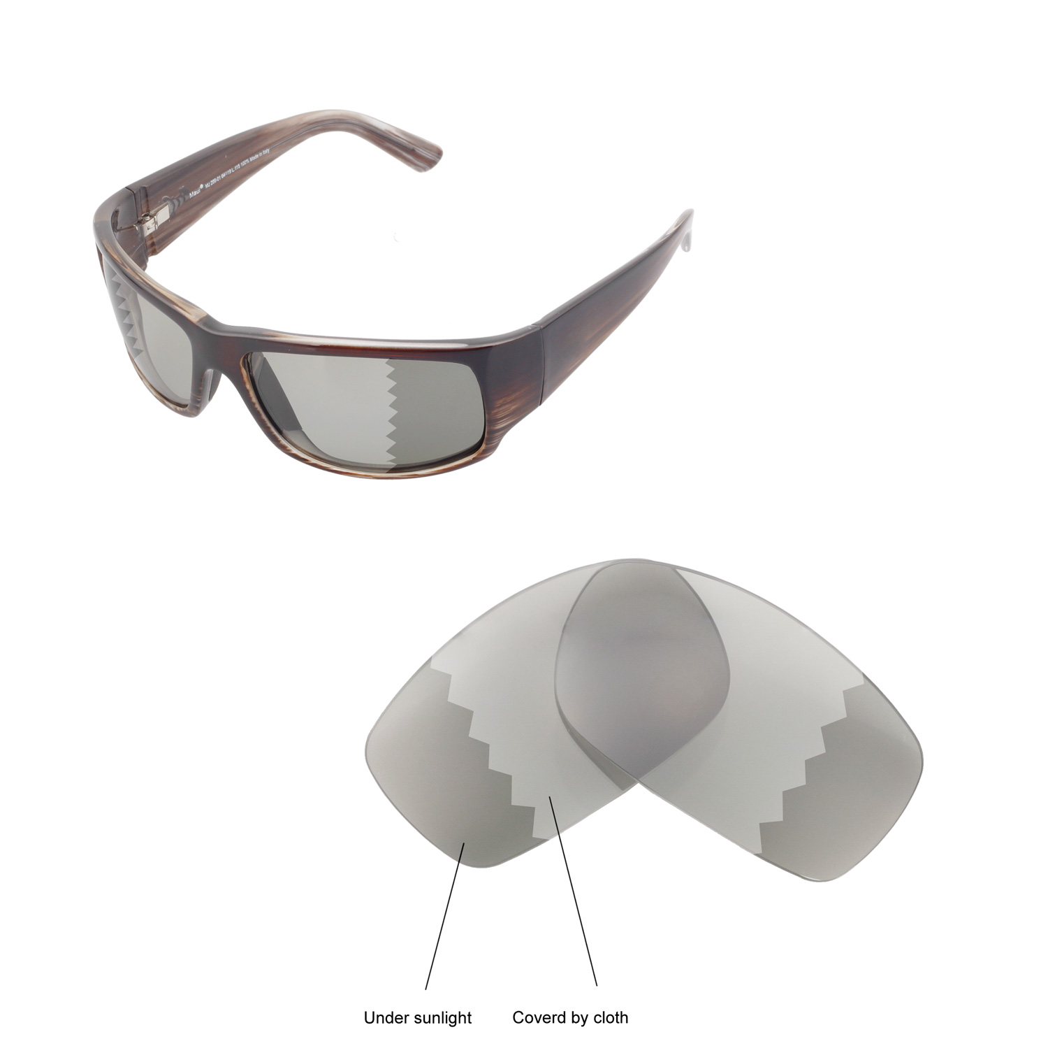36092bf6d5 Details about Walleva Polarized Transition Photochromic Lenses For For Maui  Jim World Cup