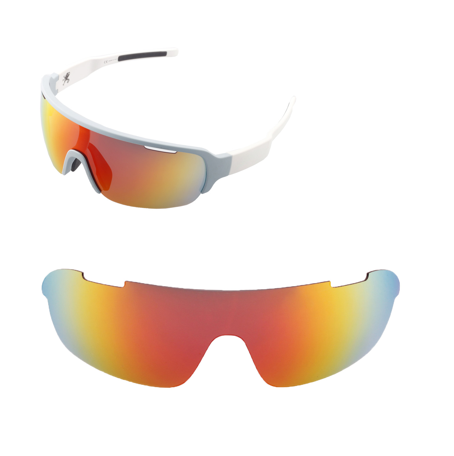 63e222de610 Details about Walleva Polarized Fire Red Replacement Lenses For POC Half  Blade Sunglasses