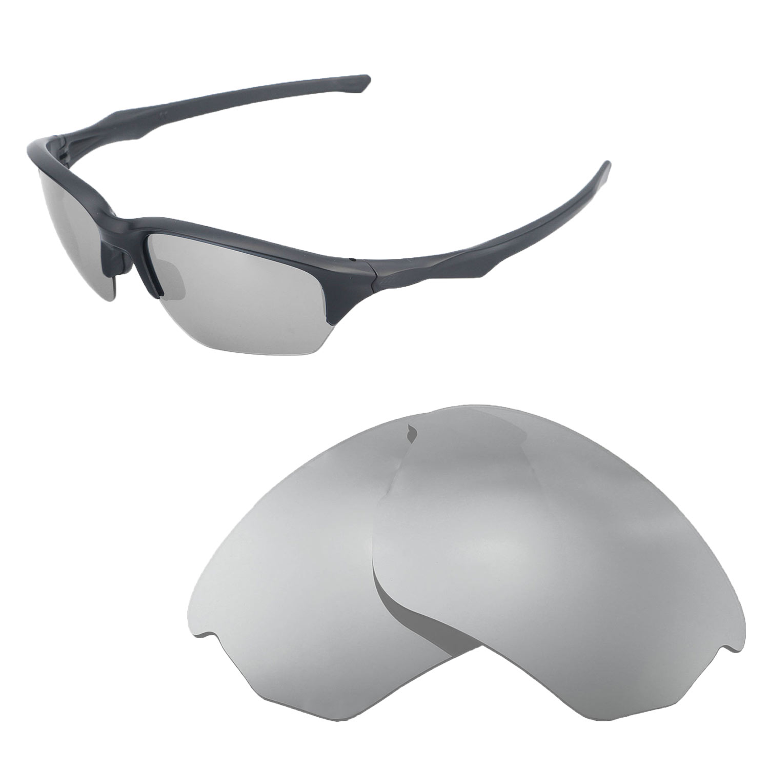 875bf9626ac Details about Walleva Polarized Titanium Replacement Lenses For Oakley Flak  Beta Sunglasses