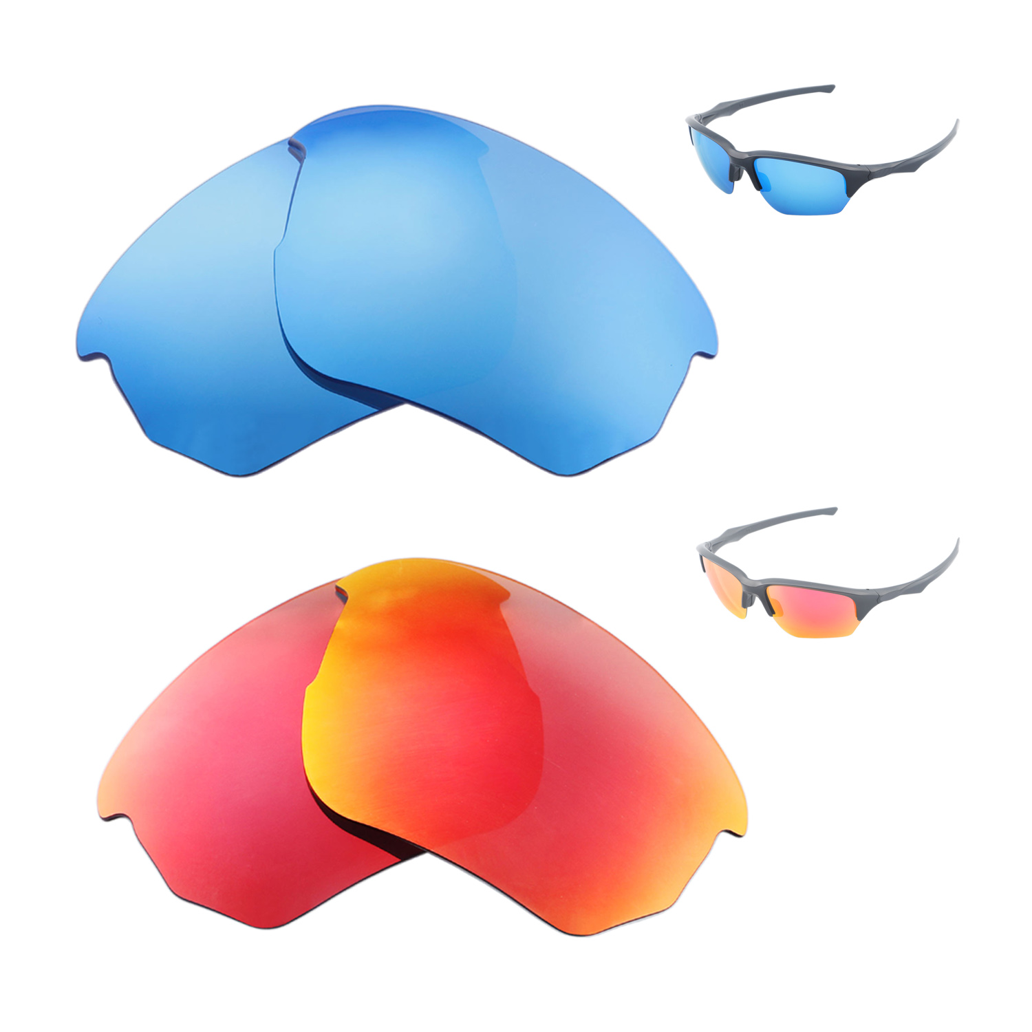 fb801acefa Details about Walleva Polarized Fire Red + Ice Blue Replacement Lenses For  Oakley Flak Beta