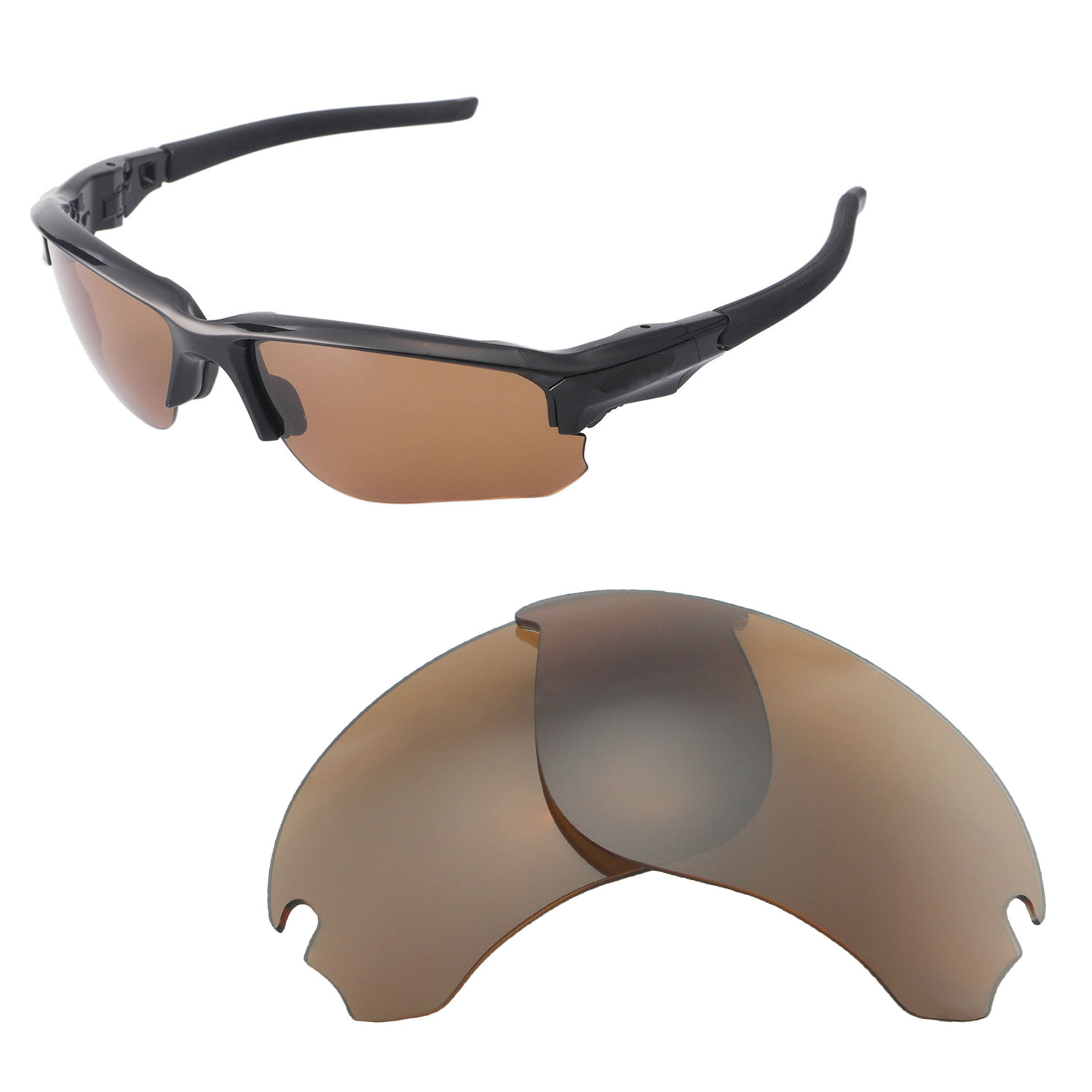 c12cac43961 Details about Walleva Brown Polarized Replacement Lenses For Oakley Flak  Draft Sunglasses