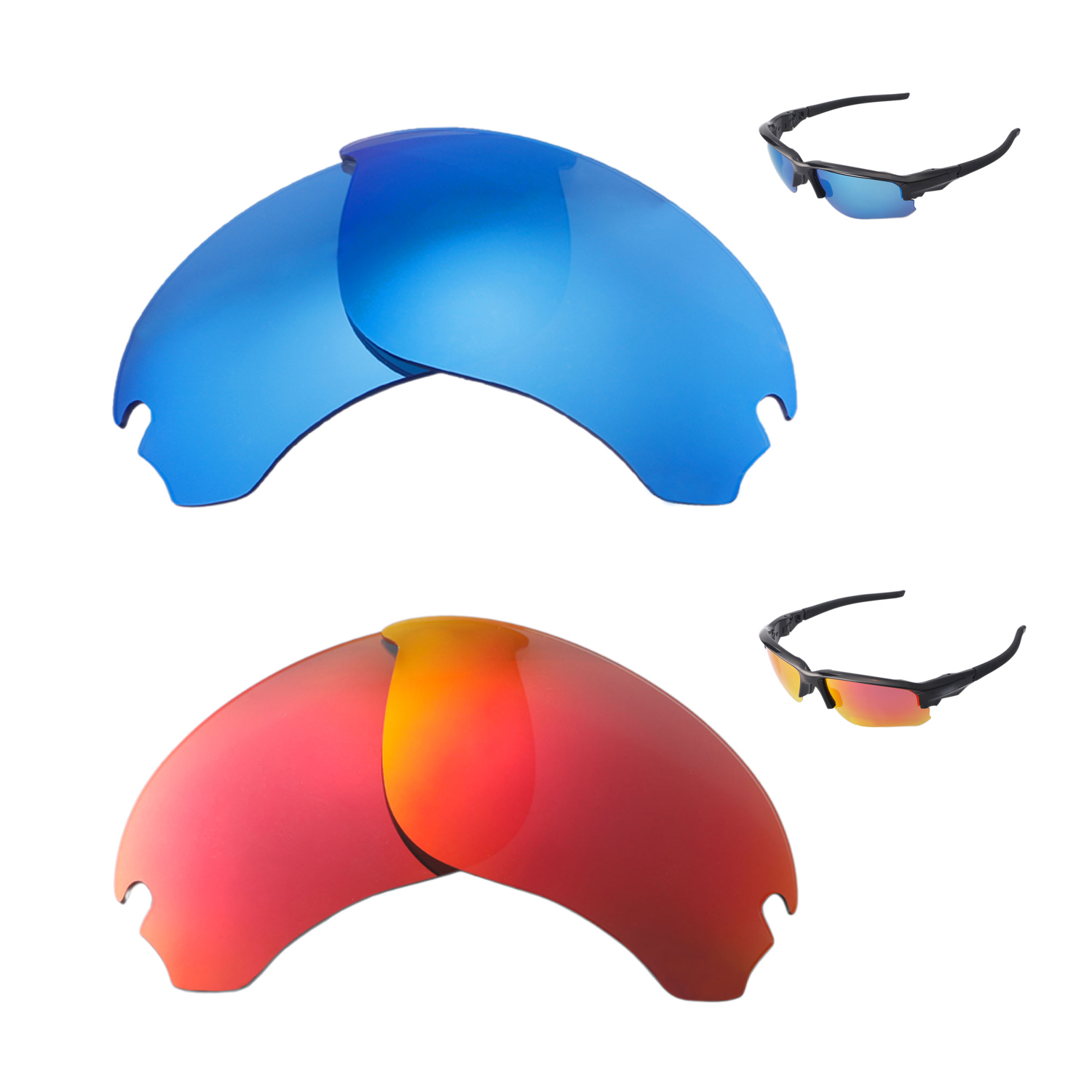 39bddc9d62d57 Details about Walleva Fire Red + Ice Blue Polarized Replacement Lenses For  Oakley Flak Draft