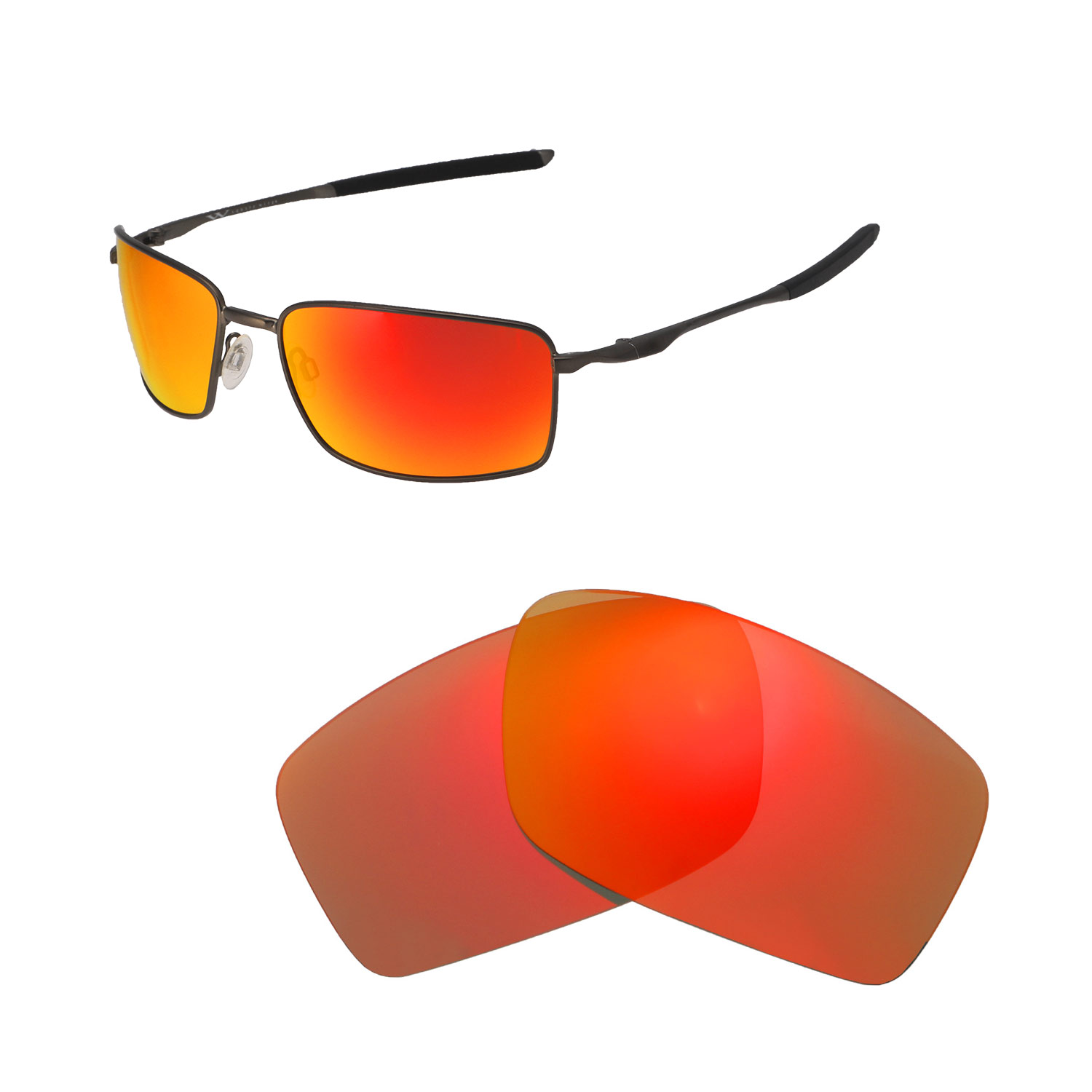 b055c851b7 Details about Walleva Fire Red Polarized Lenses For Oakley Square Wire II  (OO4075 Series)