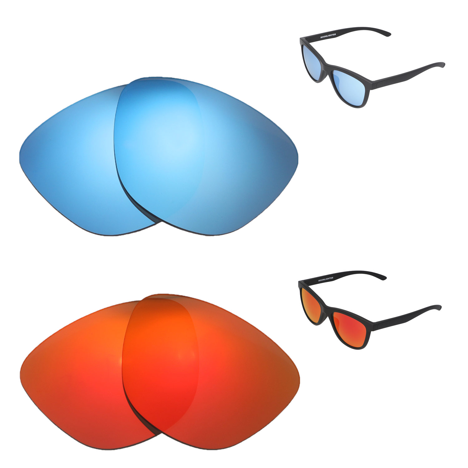 139feda6815 Details about Walleva Fire Red + Ice Blue Polarized Replacement Lenses For  Oakley Moonlighter