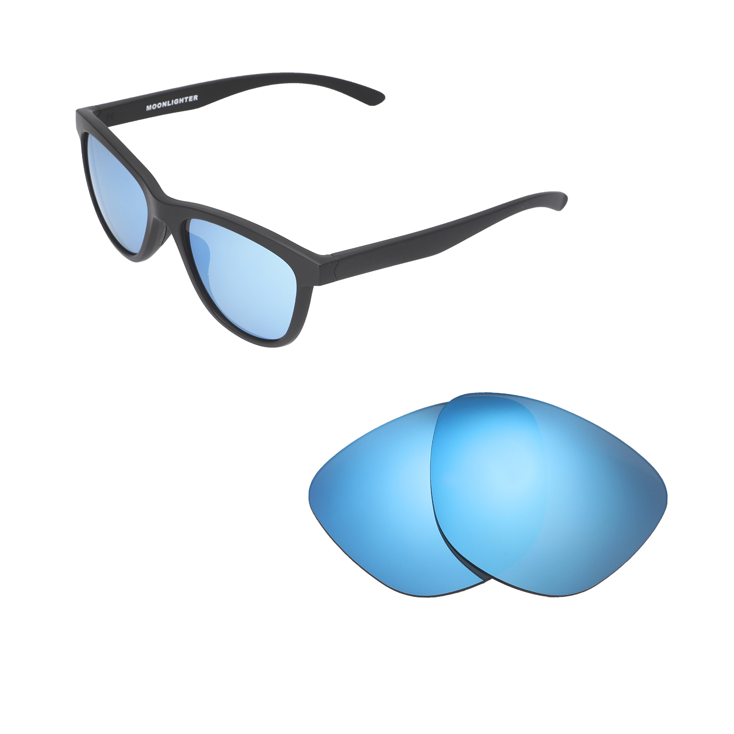 f2849bd1fca8 Details about Walleva Ice Blue Polarized Replacement Lenses For Oakley  Moonlighter Sunglasses